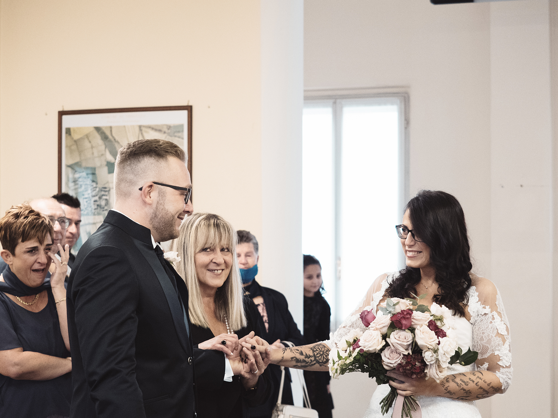Italy Destination Wedding Photographer at the Civil Hall | the mother of the bride gives her daughter away