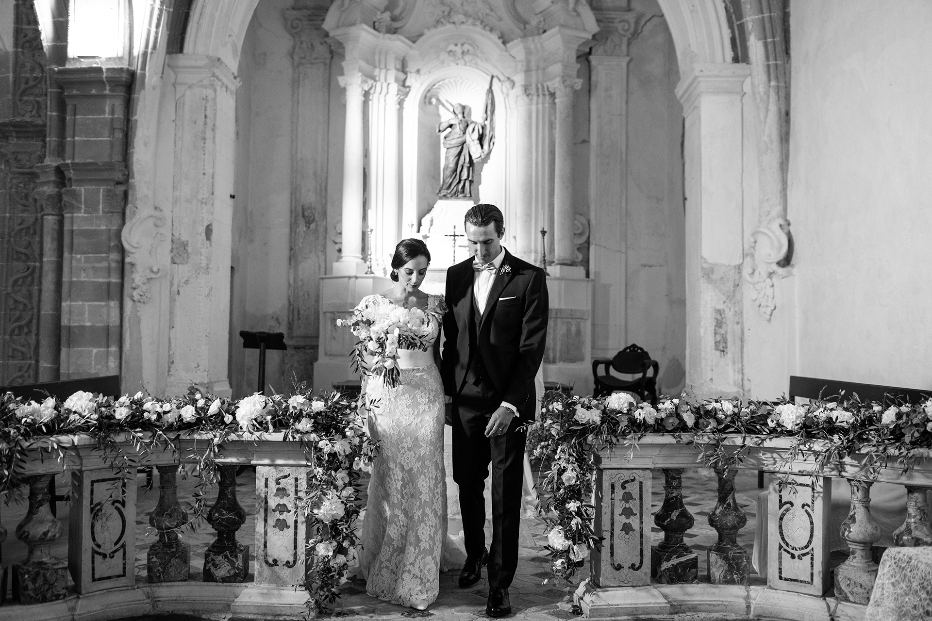 Sant'Orsola Church - Sicily Wedding Ceremony Image | The bride and groom take their first steps as husband and wife