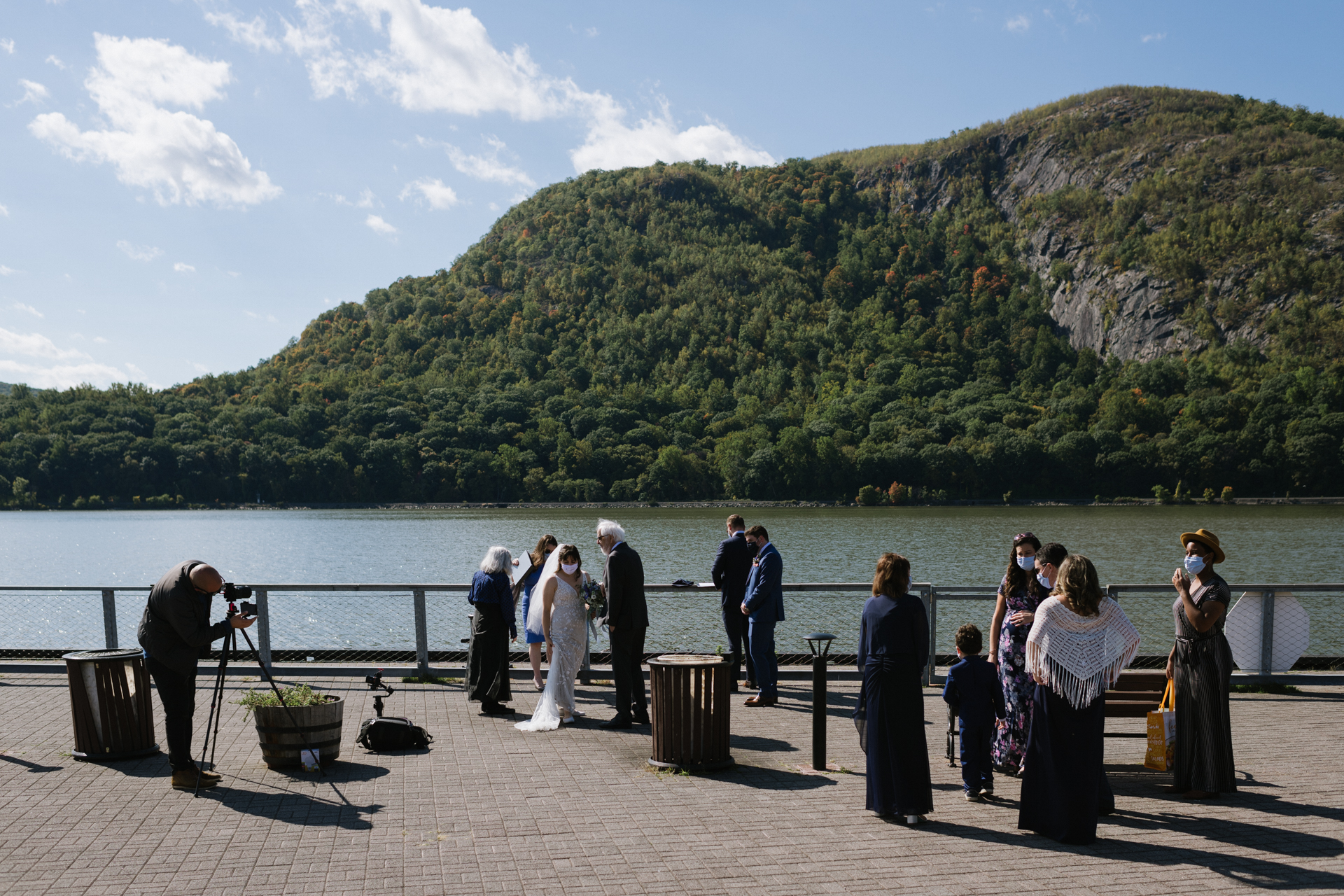 Dockside Park, Cold Spring, NY Wedding Ceremony Image | The couple prepares to marry each other