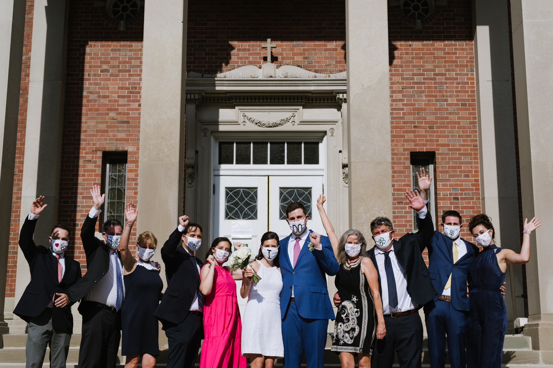 Siena College Chapel of NY Wedding Pic | The wedding couple and their family and wedding party wear COVID masks