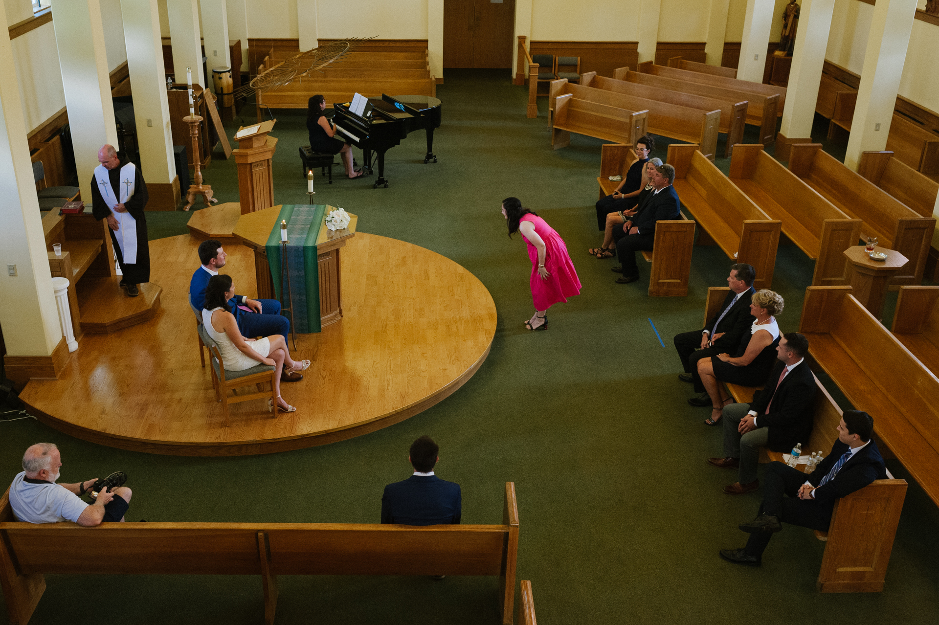 St. Mary of the Angels Chapel, NY Wedding Photography | an overhead view from the balcony inside a the chapel