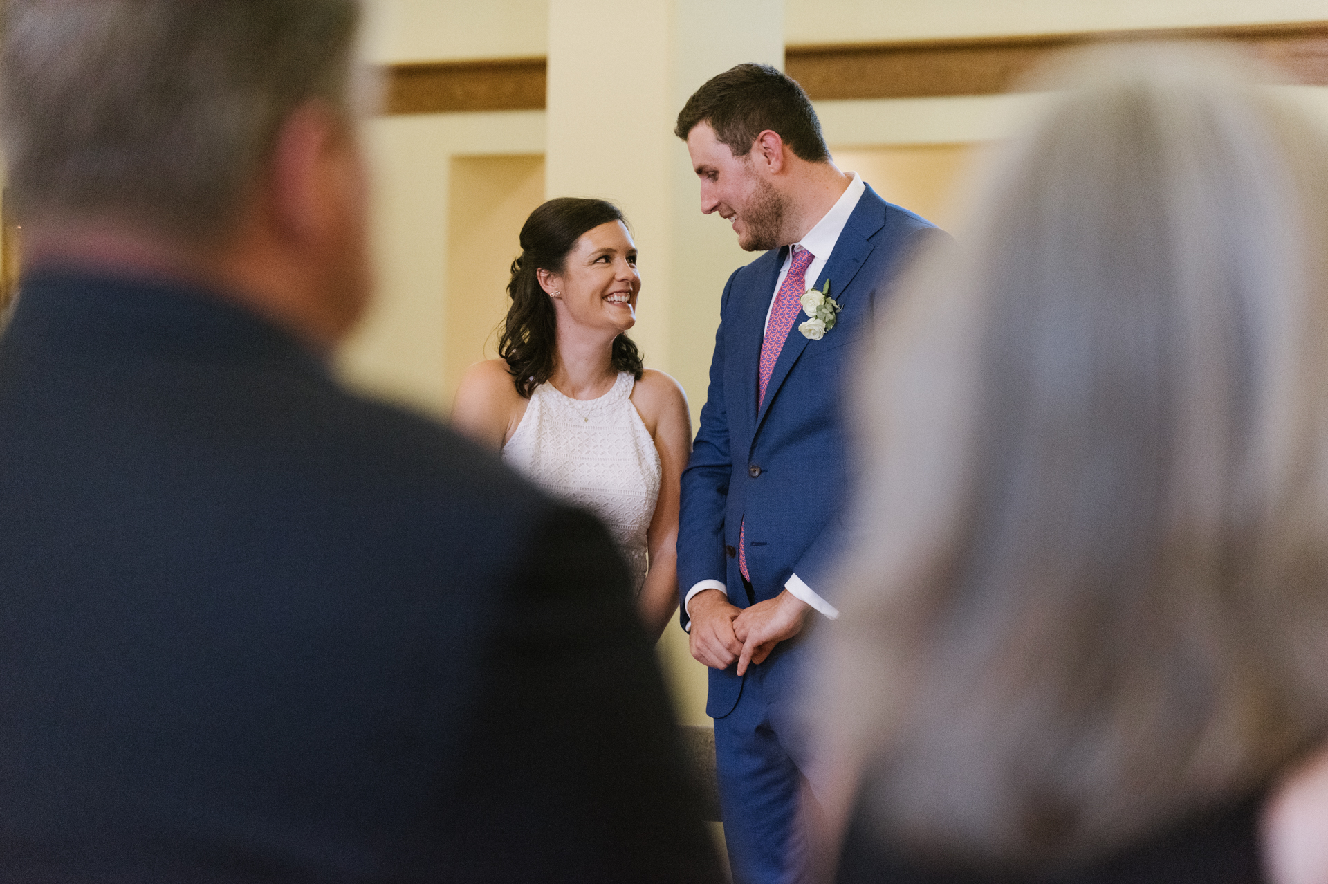 St. Mary of the Angels Chapel, Loudonville, NY Wedding Pic | Two marriers look at each other joyfully
