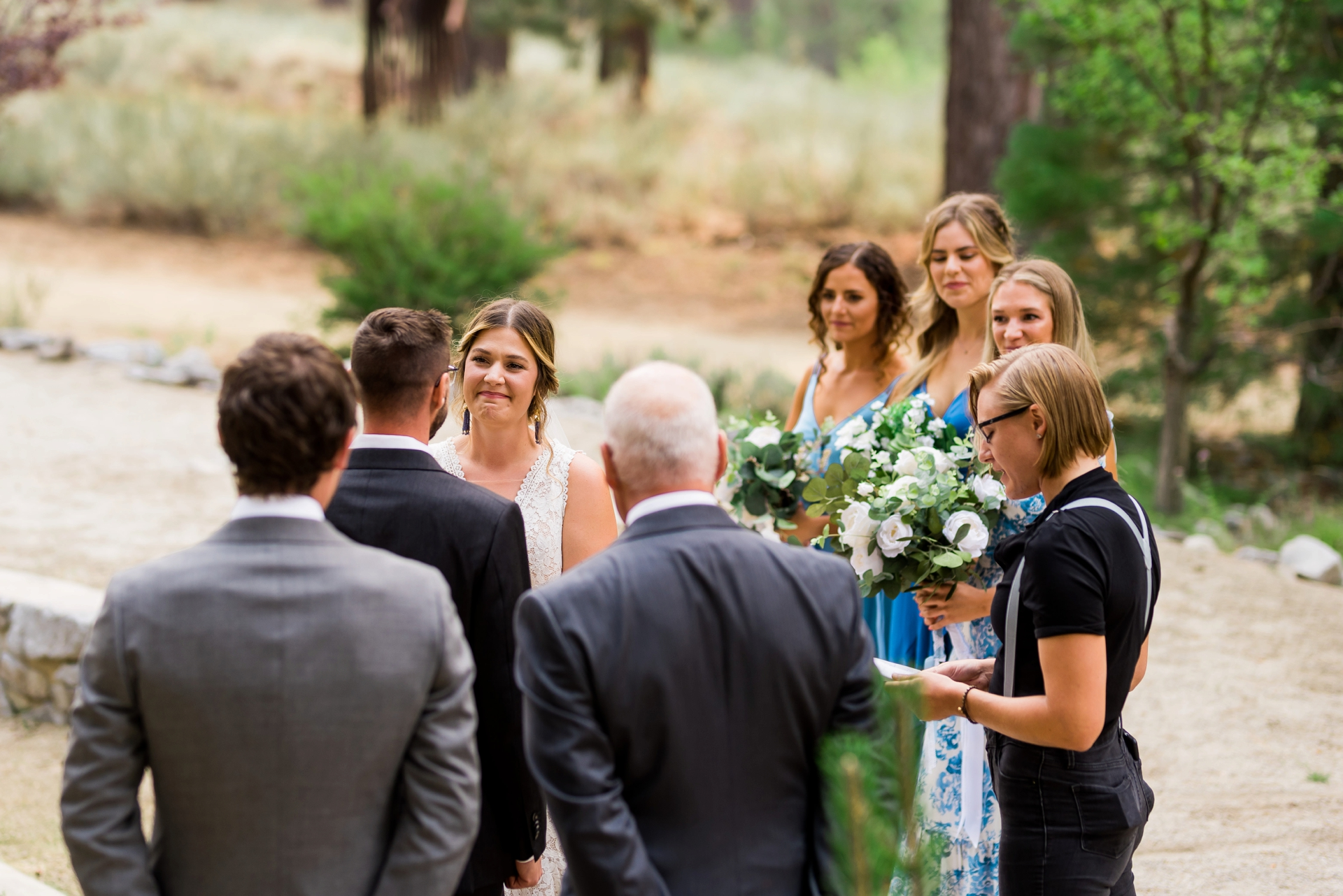Lake Tahoe Community College Demonstration Garden Wedding Image | The bride looks on at her husband to be while giving their vows
