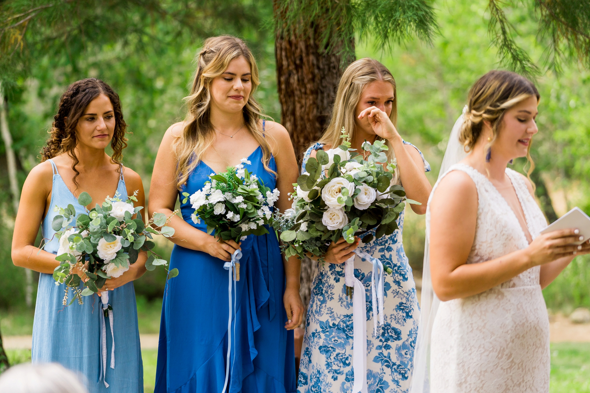 Lake Tahoe Wedding Photographer for LTCC | The wedding party is overcome with emotion in this image
