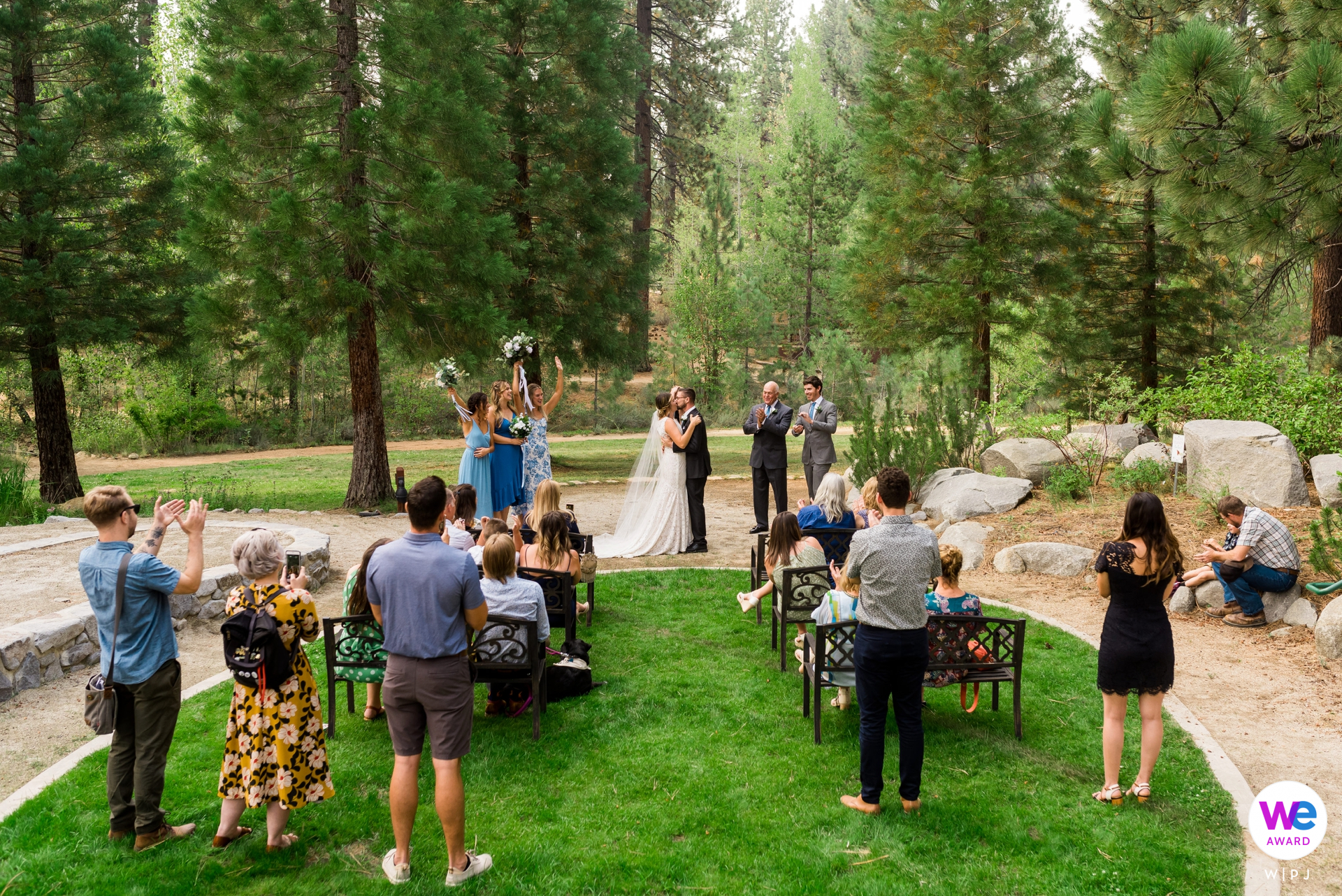 Lake Tahoe Demonstration Garden Wedding Pic | Community College Photo of the first kiss at their intimate garden elopement