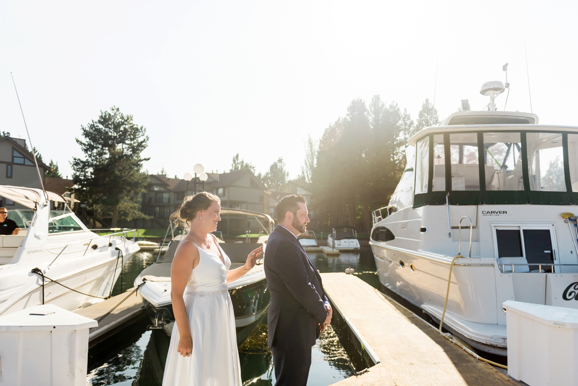 South Lake Tahoe, CA Boat Rides Wedding Photography | The bride and groom share their first look before boarding the boat