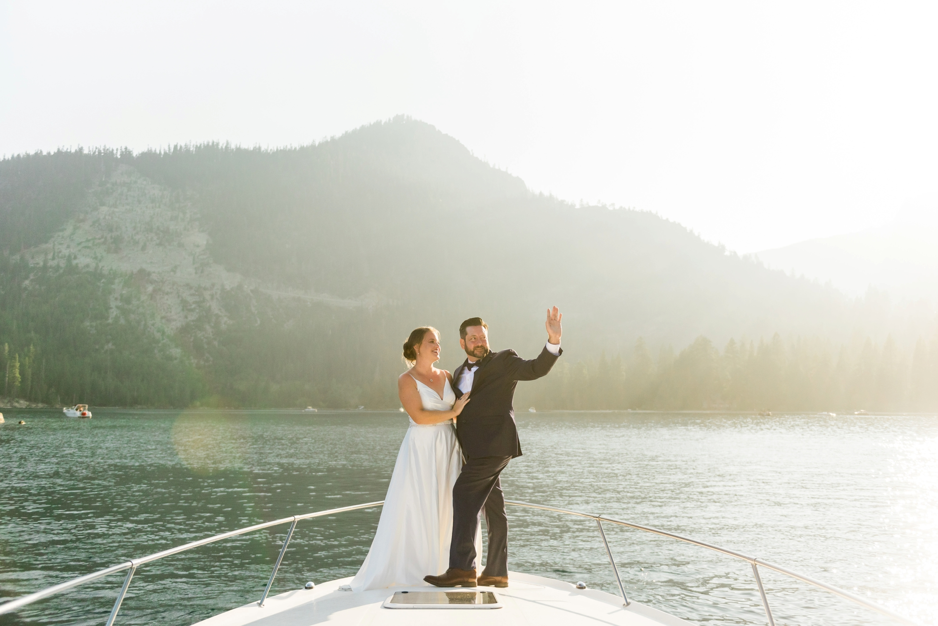 Boat Wedding Day Portrait - South Lake Tahoe | portraits are interrupted as people yell congratulations