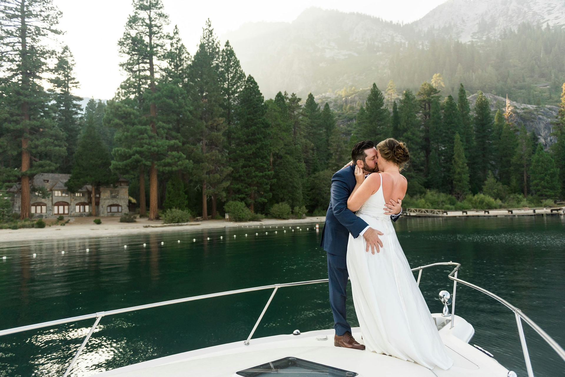 Emerald Bay, Lake Tahoe Wedding Photographer | The newlyweds share their first kiss