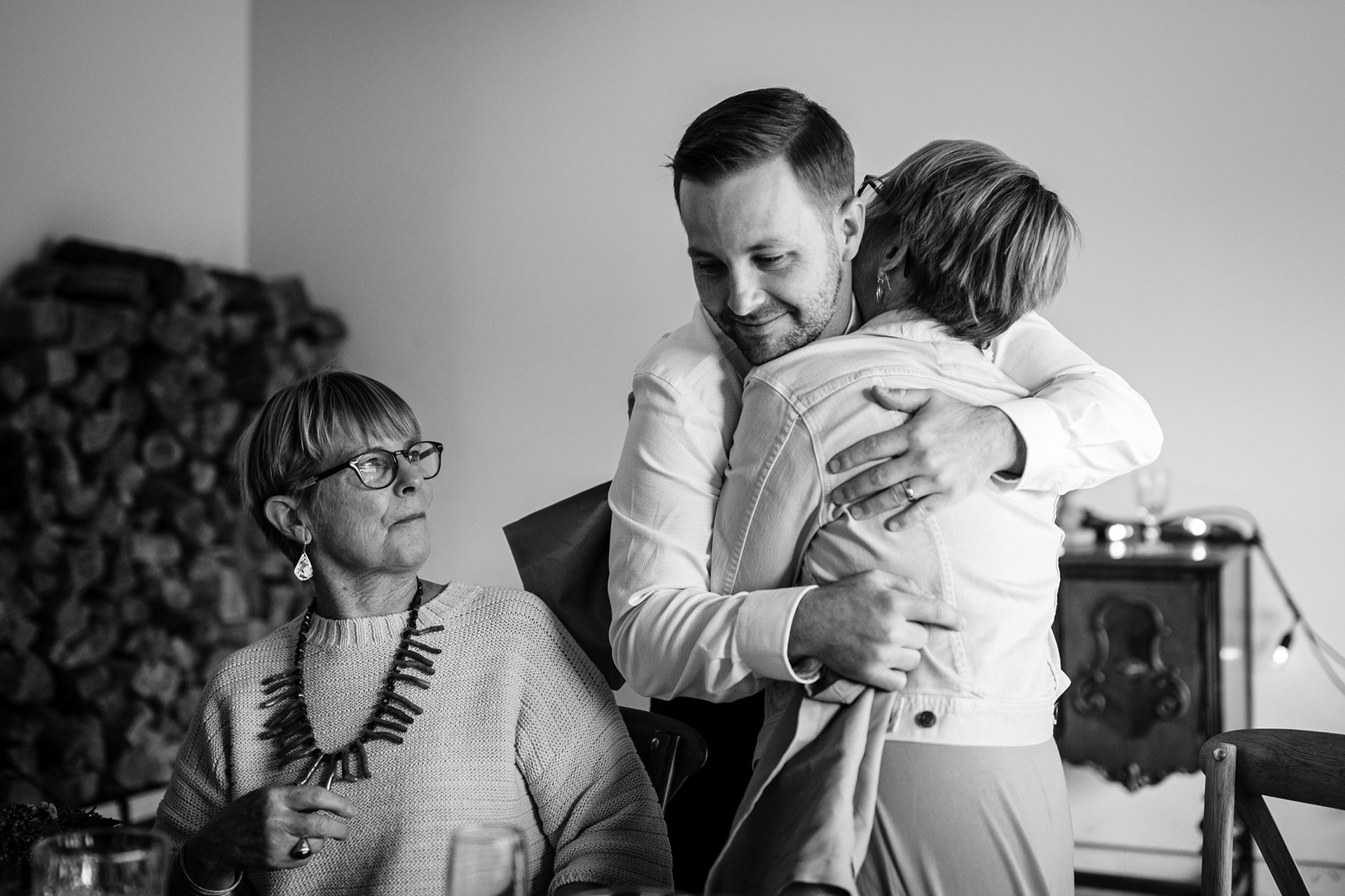 Mammoth Lakes Rental Home Wedding Pictures | The groom greets his aunt with a loving hug