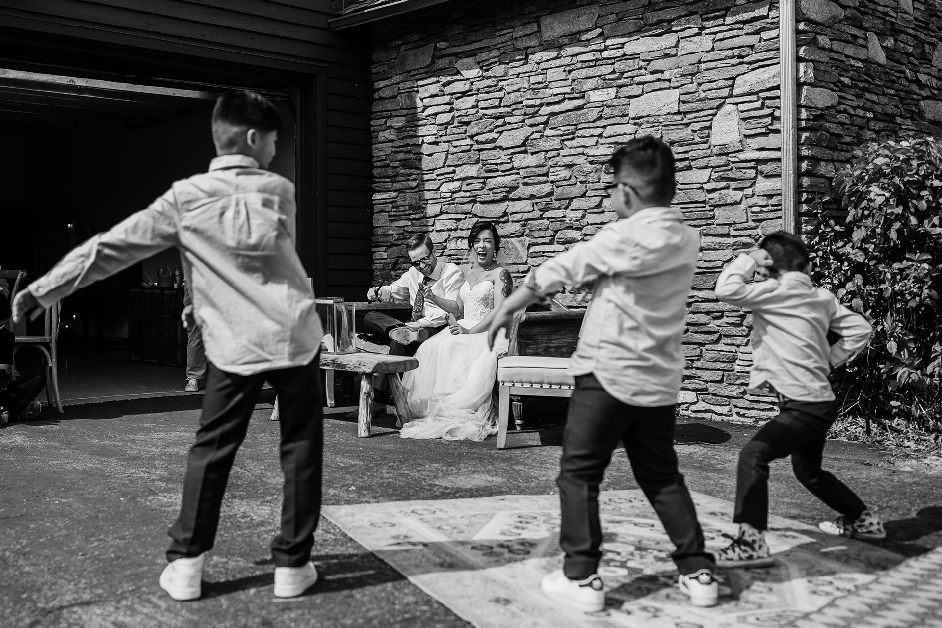 Airbnb Vacation Rental Wedding Home in CA | three nephews treat the newlyweds to a surprise dance