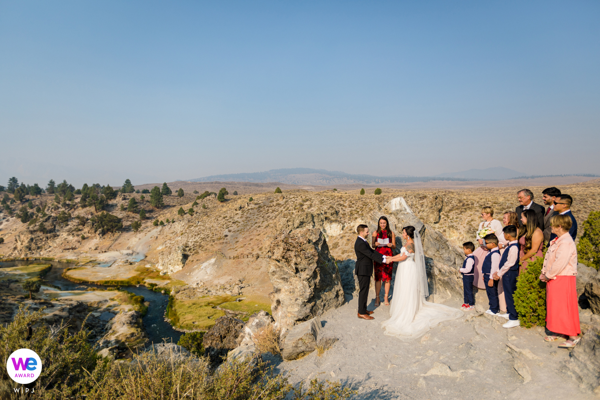 Wedding Photography for Mammoth Lakes, CA | panoramic views of the Hot Baths surround the couple