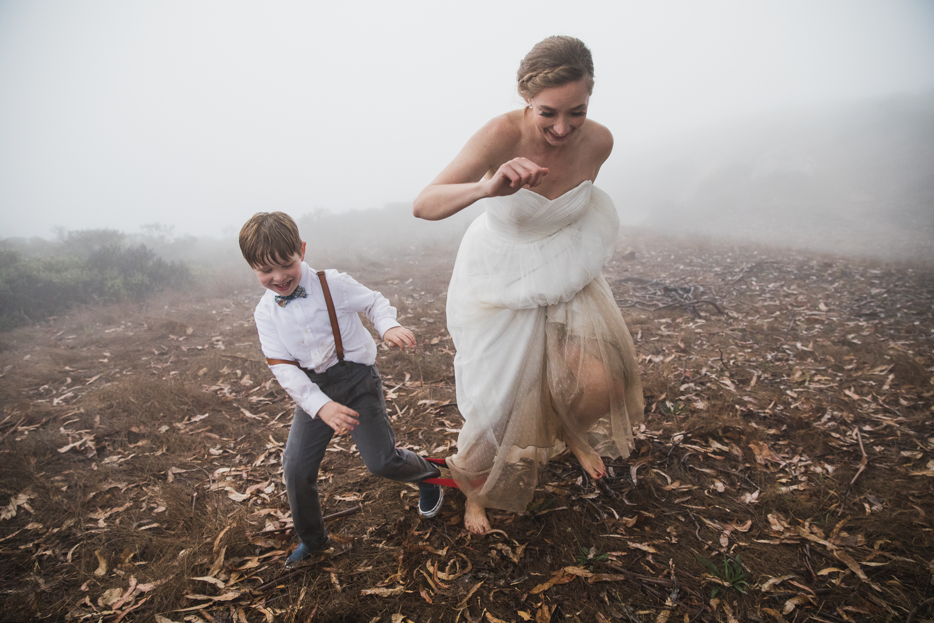 California Redwood Forest Wedding Photos | a three-legged-race during the reception party