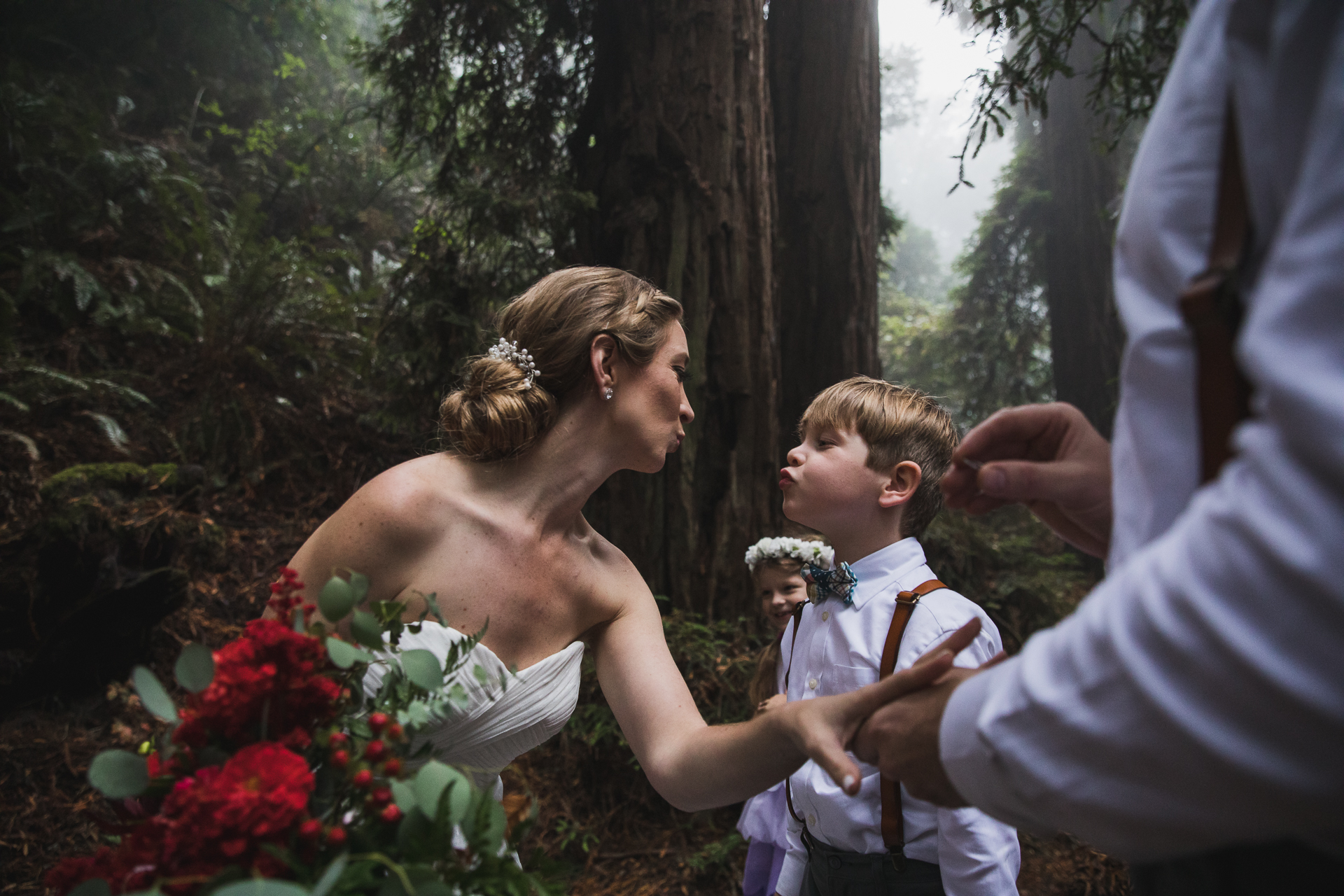 Mystical redwood forest wedding photos in CA | The groom was about to put the ring on the brides finger