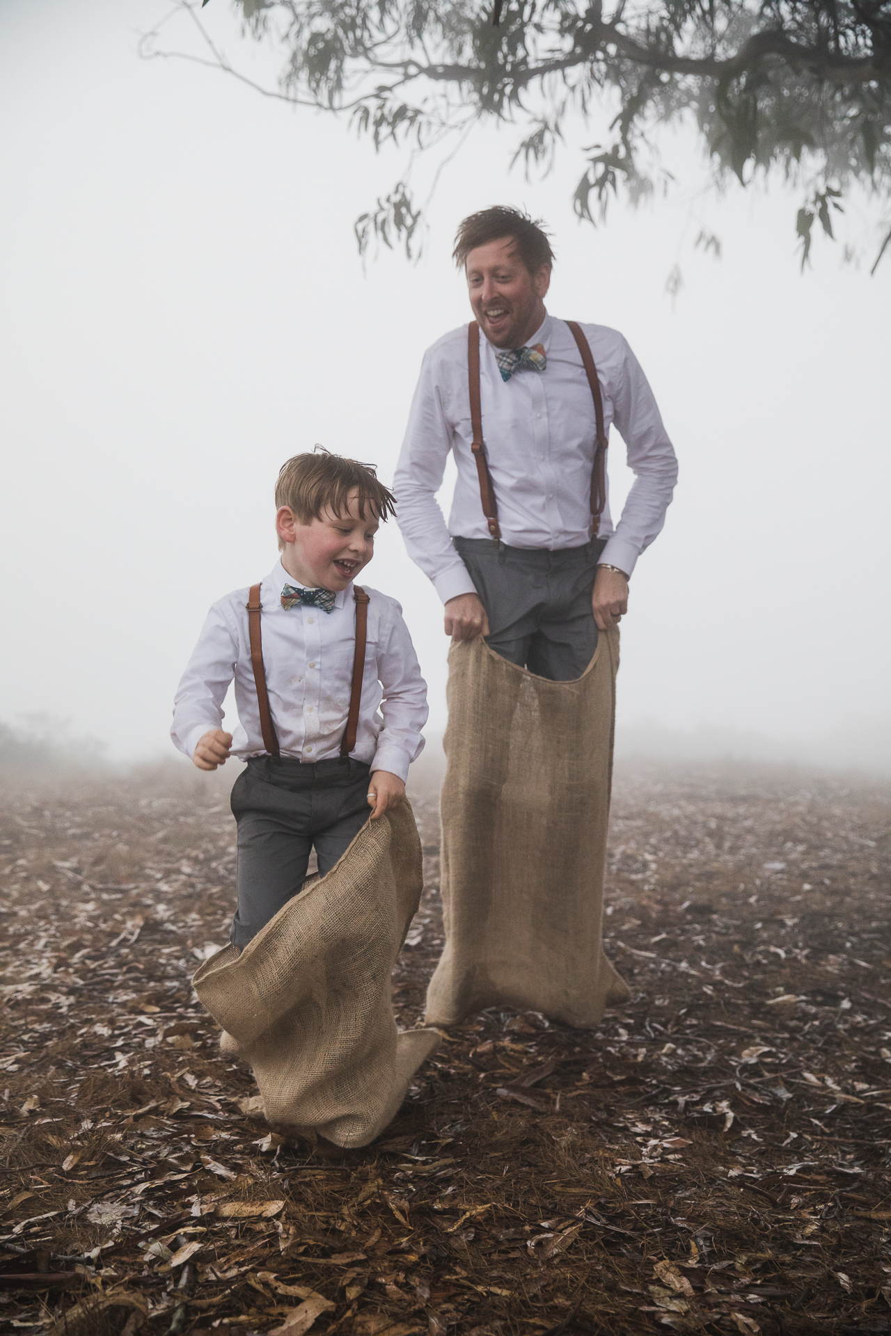 Coastal Live Oak Tree, Stinson Beach in Marin County, CA Wedding Photo | a potato sack race