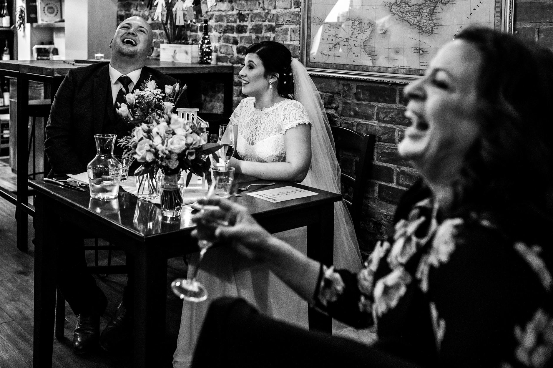 Enoteca by L'Uva, York, North Yorkshire Wedding Venue Image | The couple and guests enjoy the wedding speeches