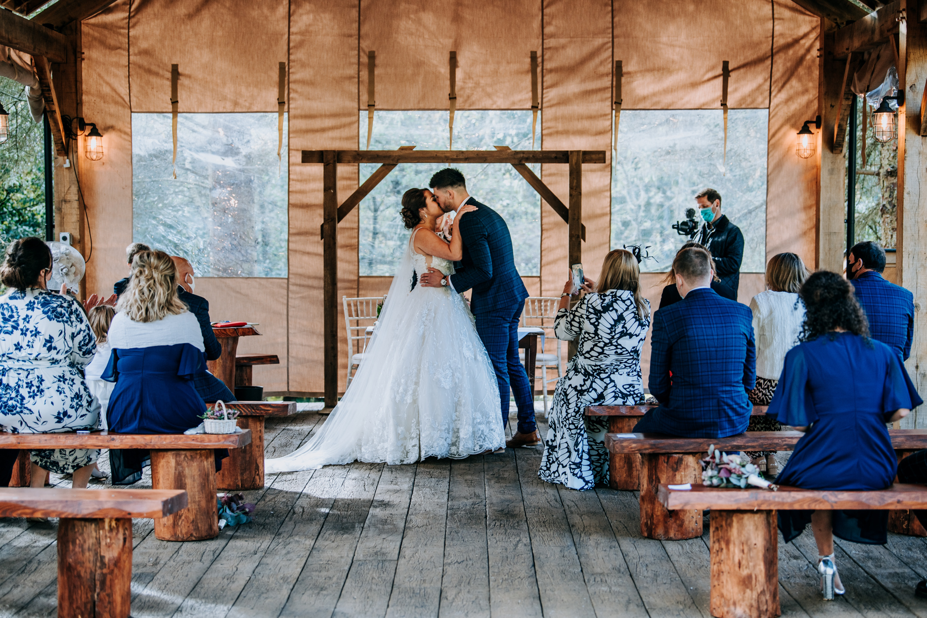Hackness Grange Hotel Wedding Pics - Scarborough | The first kiss at the outdoor ceremony