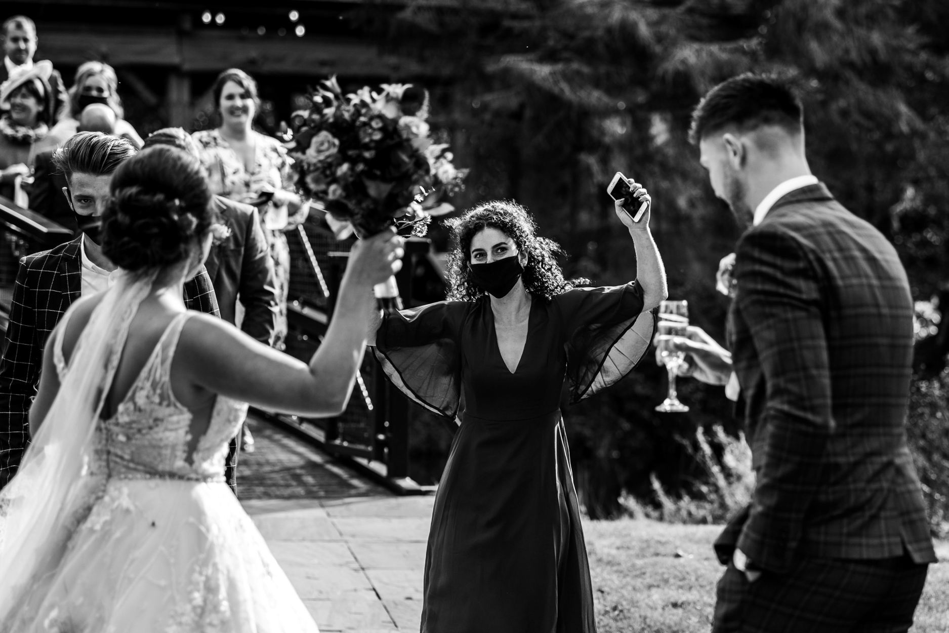 Hackness Grange Hotel, North Yorkshire Wedding Photography | Happy guests congratulate the newlyweds