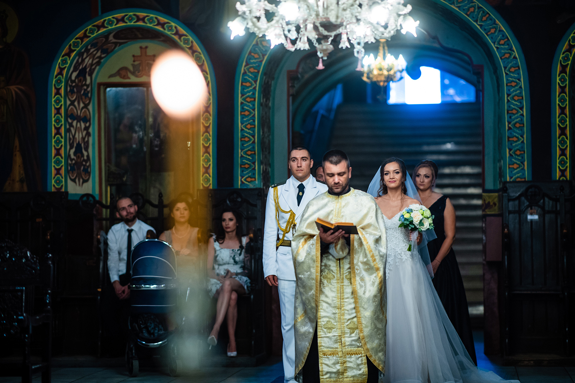Ruse, Bulgaria Wedding Photos at Holy Trinity Cathedral | the bride walks down the aisle