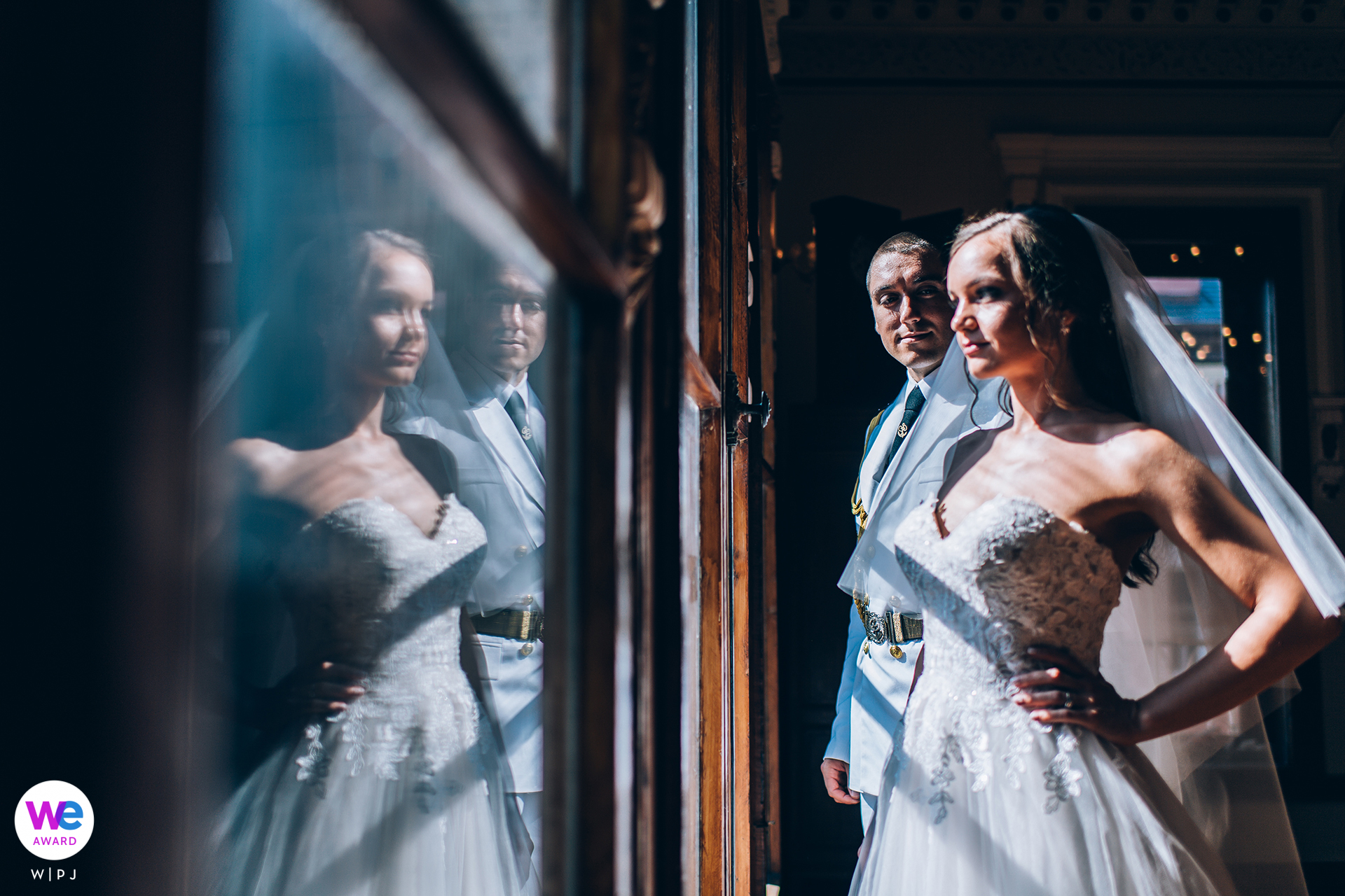 Ruse, Bulgaria Wedding Couple Portrait | The reflection in this portrait symbolizes their ability to consider the past and the challenges they overcame