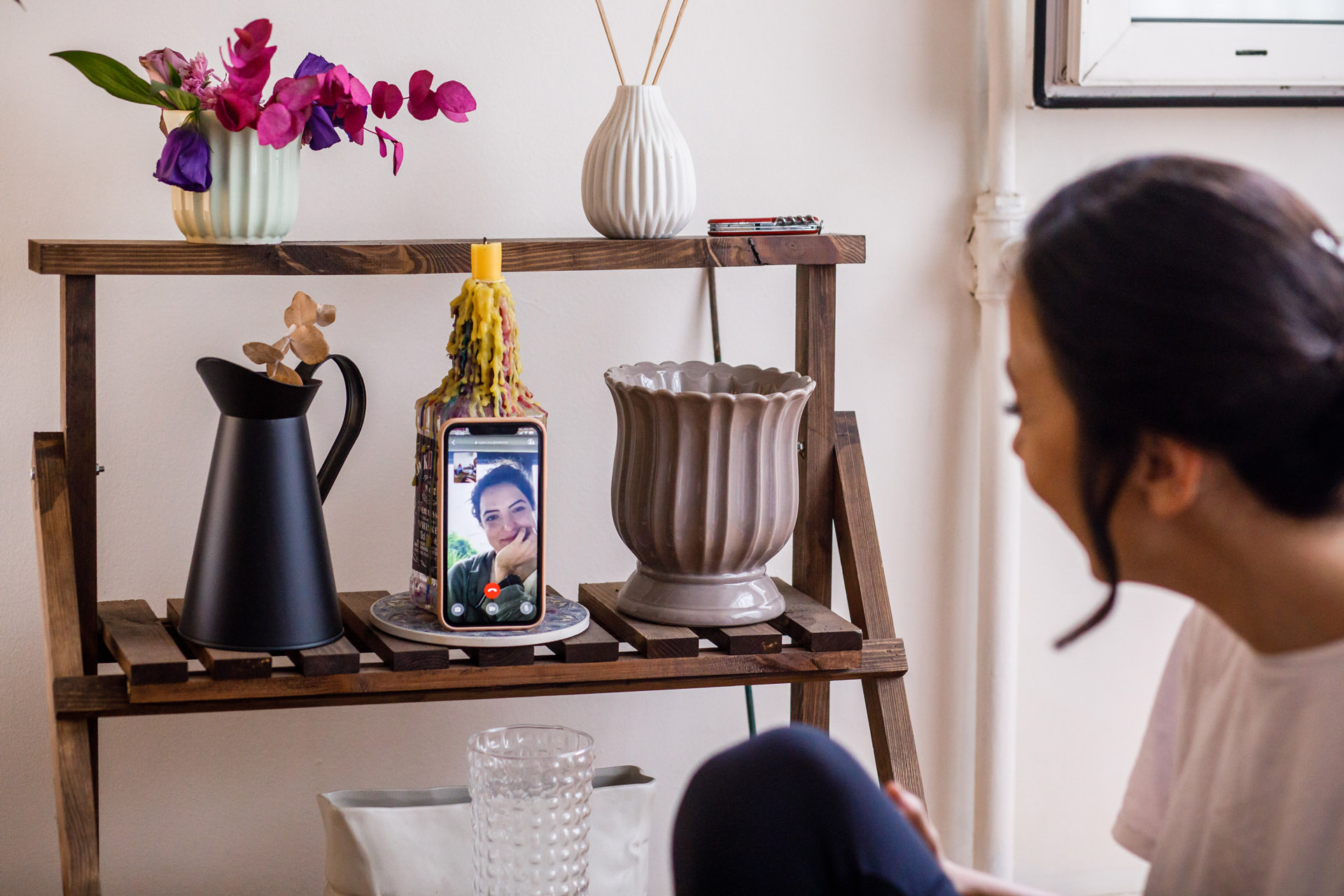 COVID Wedding Prep Pic, Istanbul, Turkey | The brides best friend was able to follow the whole process by video call technology
