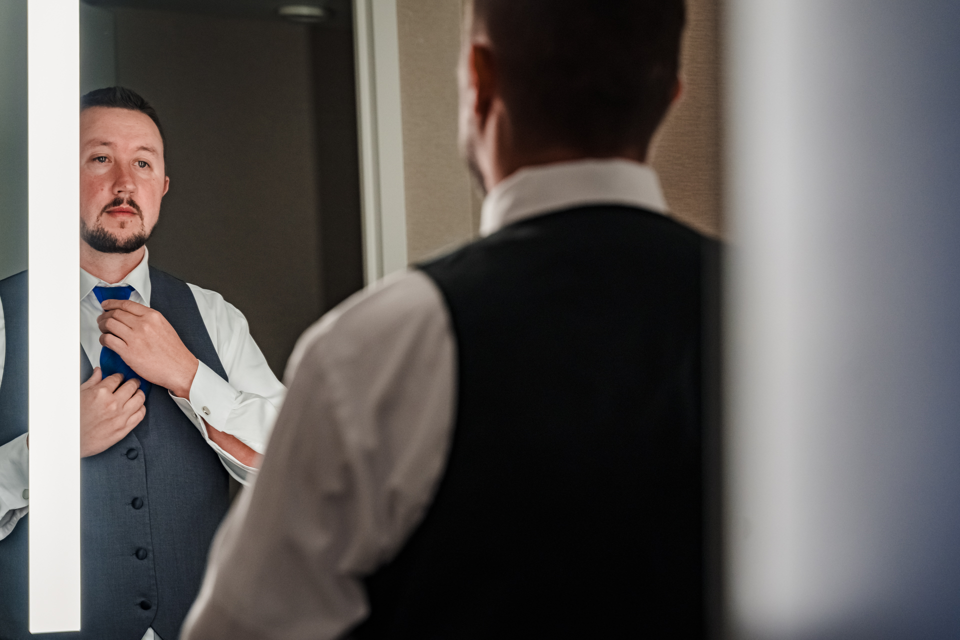 Harvey's Lake Tahoe Hotel, Casino, Stateline NV Wedding Pix | groom getting ready in his suite