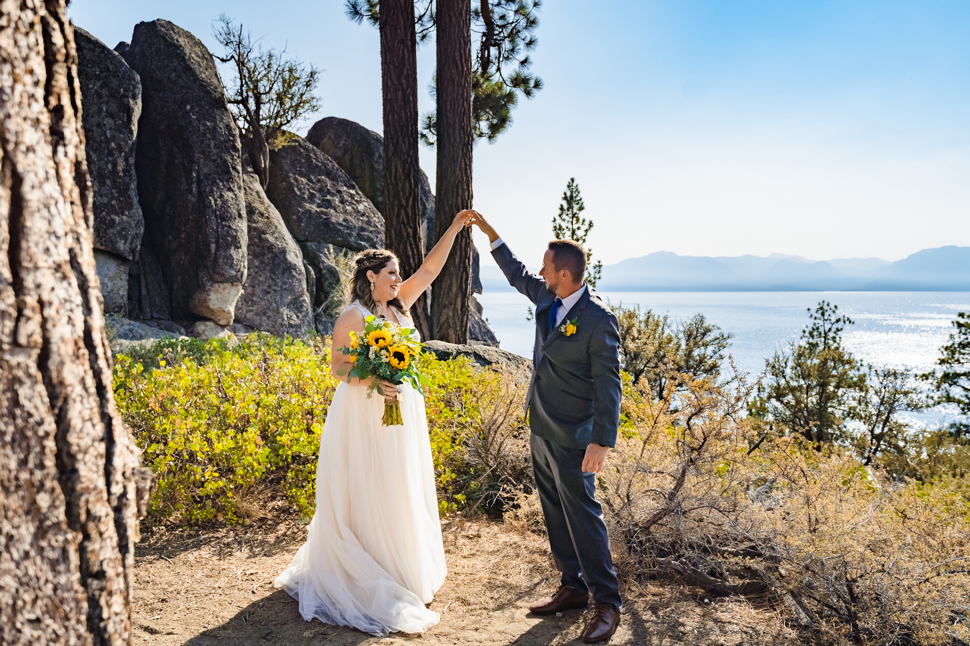 Logan Shoals, Zephyr Cove, NV Wedding Couple Pic | The bride wanted to go see the vista