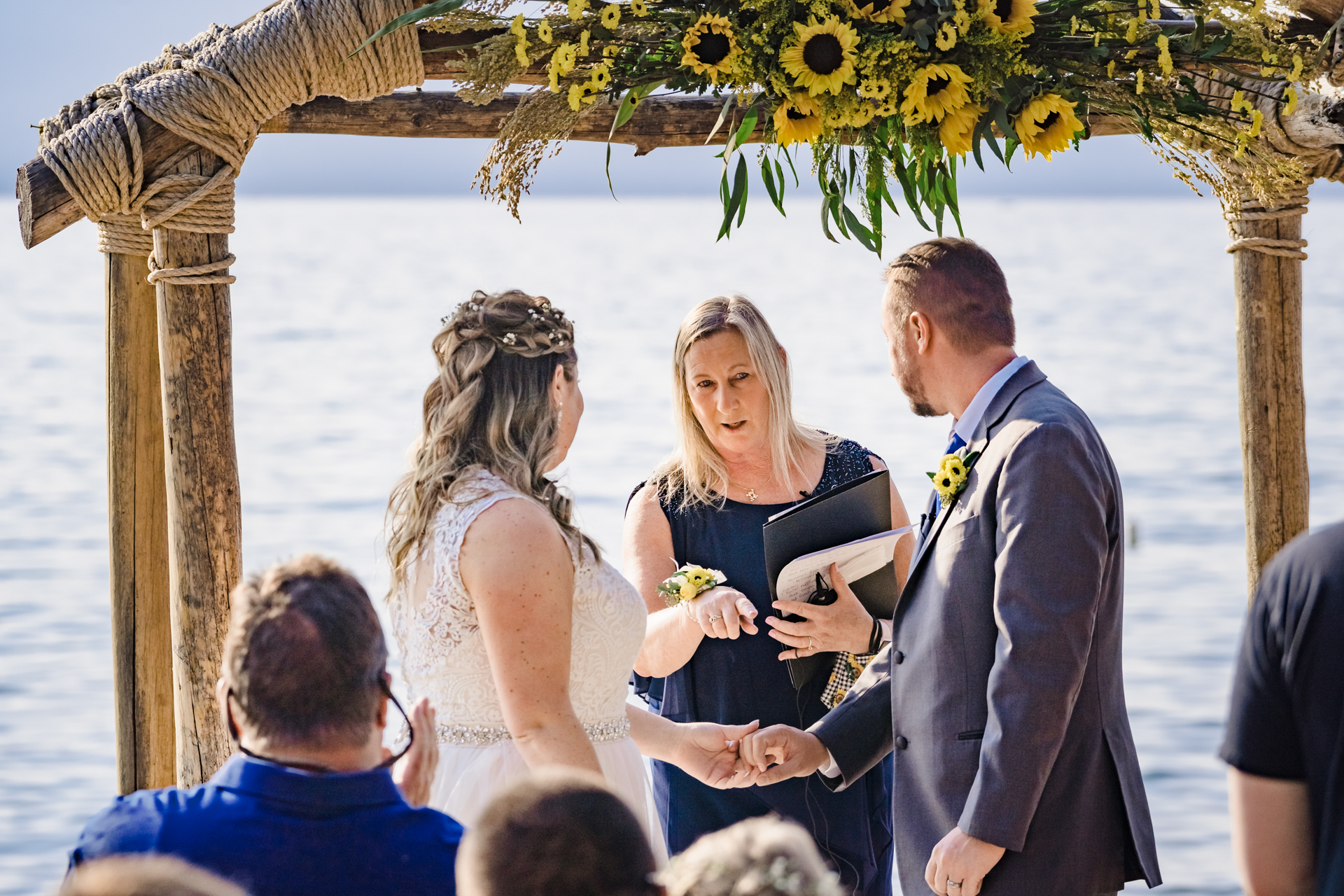 Lakeside Beach - Tahoe Wedding Photographer | The bride and groom are officially married