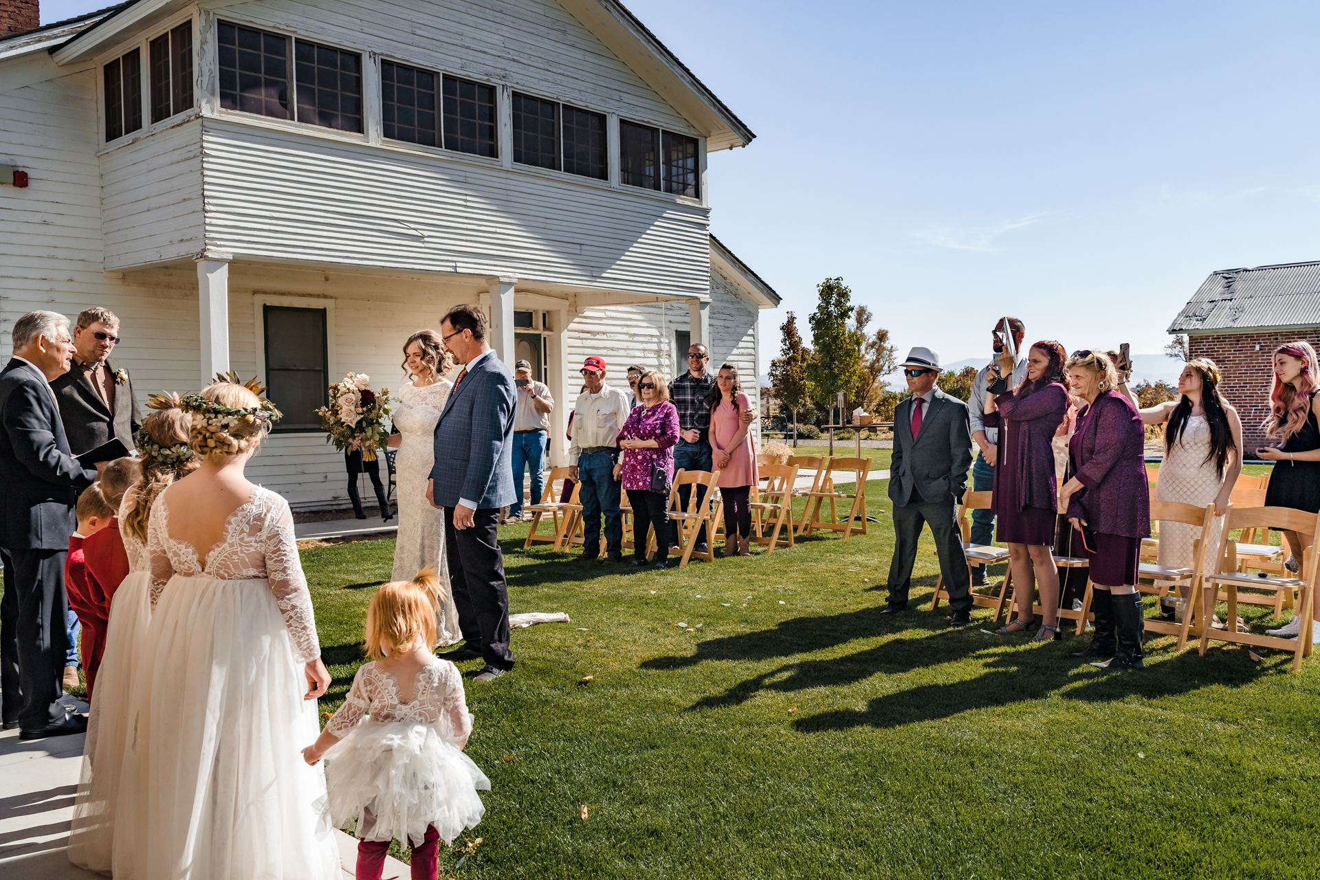 Dangberg Home Ranch Wedding Photographer | The brides father gives his blessing for them to be married.