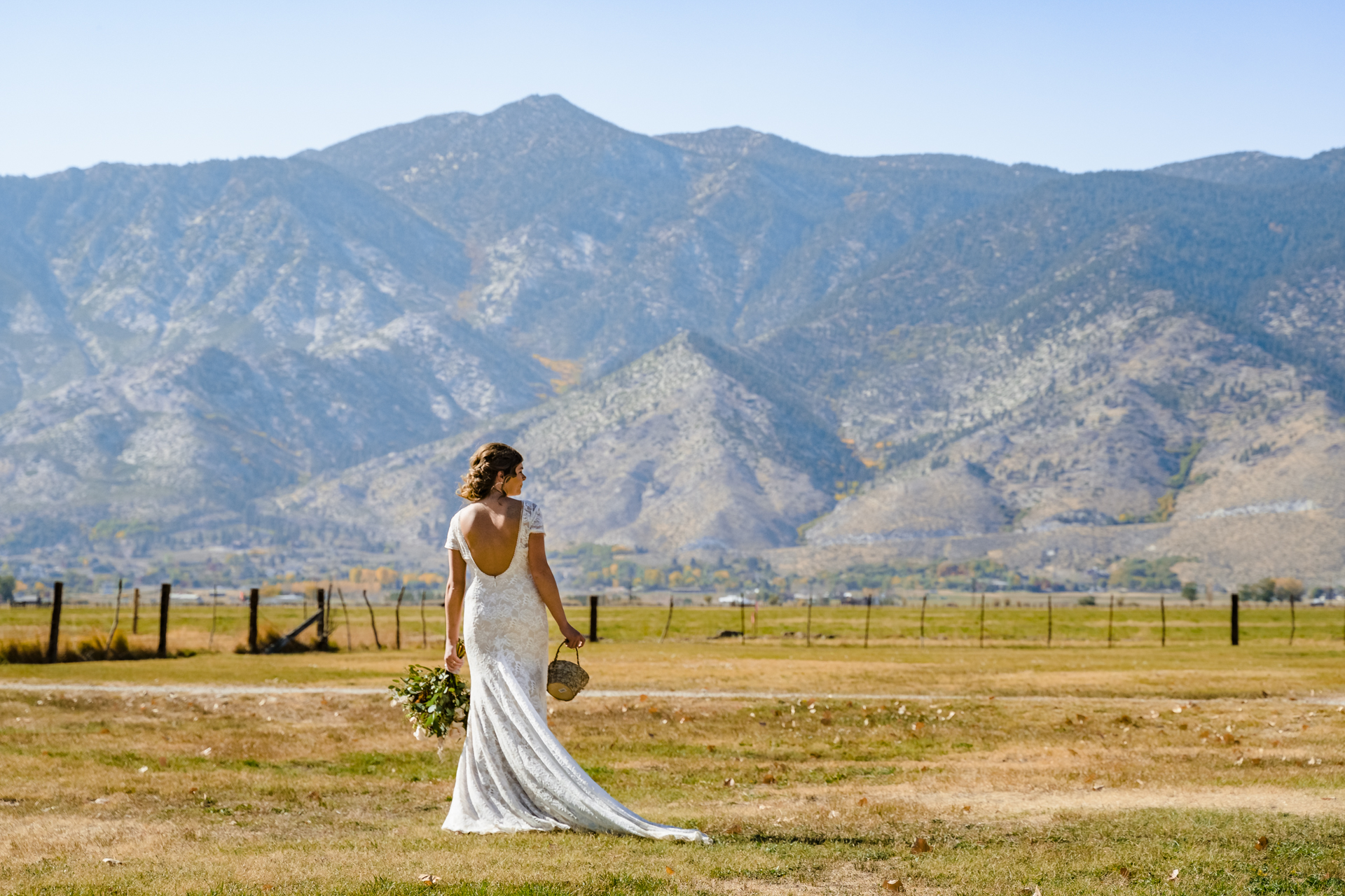 Dangberg Ranch Bridal Portrait, NV | Mountain backdrop with a stunning view