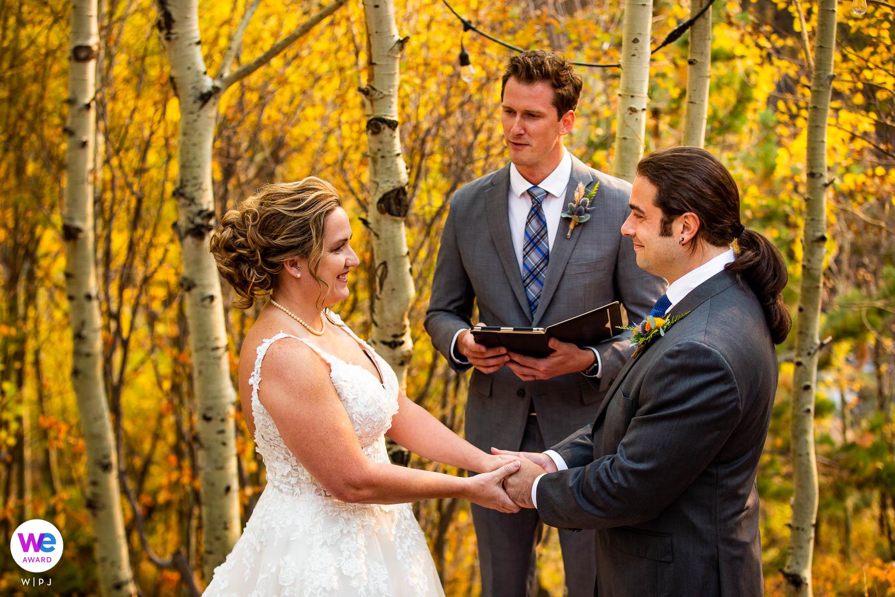 Wild Basin Lodge - jesienna fotografia ślubna | Państwo młodzi po wymianie obrączek składają ręce