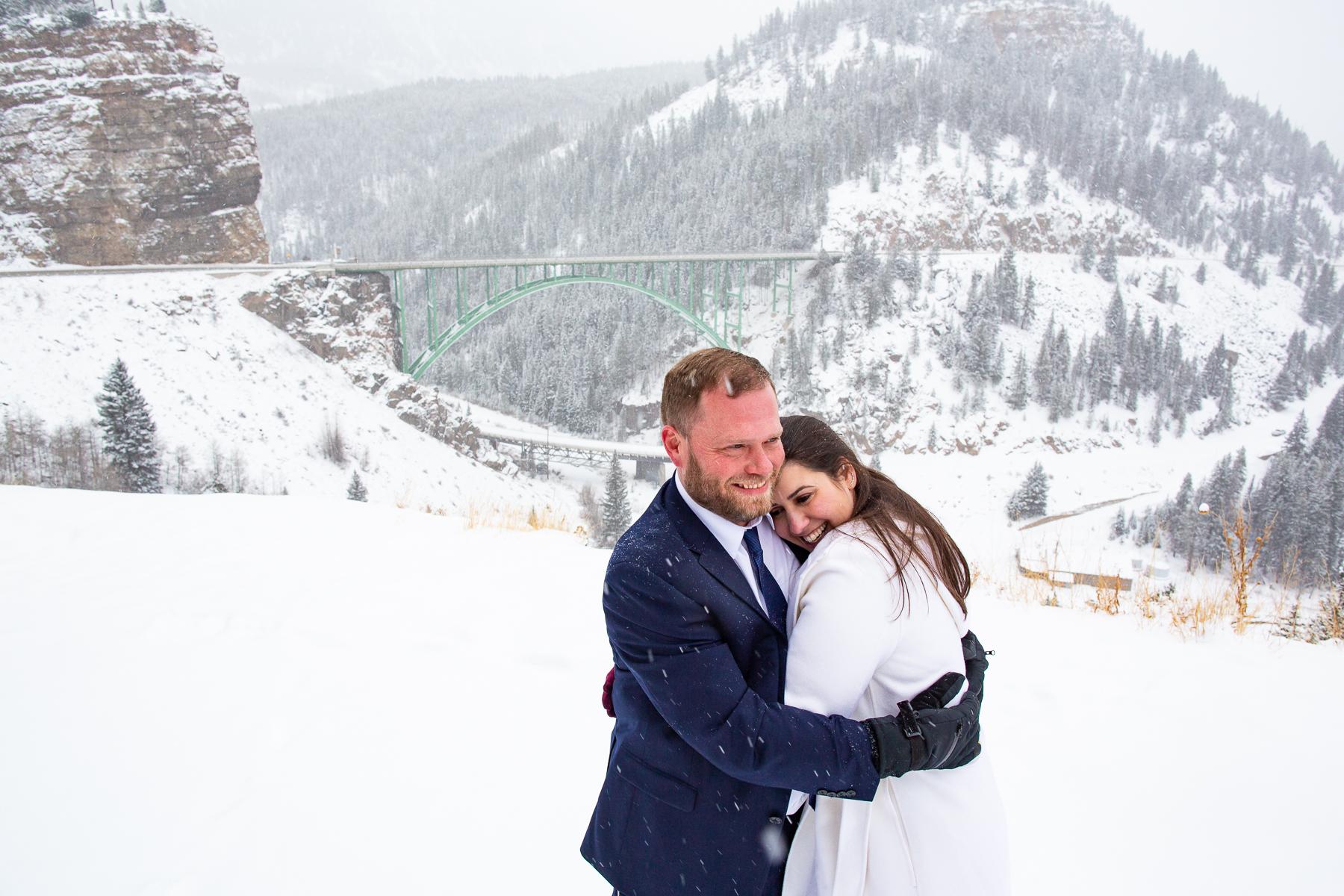 Twin Lakes Wedding Photographers, Colorado | The blizzard raged around them