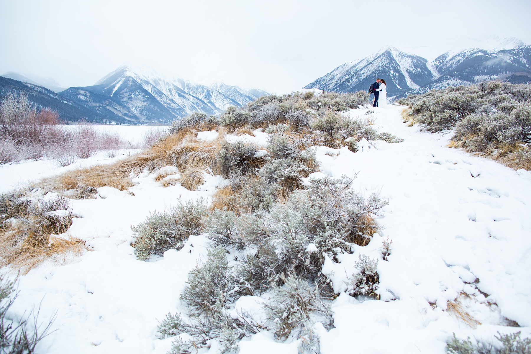 Twin Lakes, Colorado Winter Wedding Images | The scrub on the shores provided texture and color to their wintery snowglobe elopement
