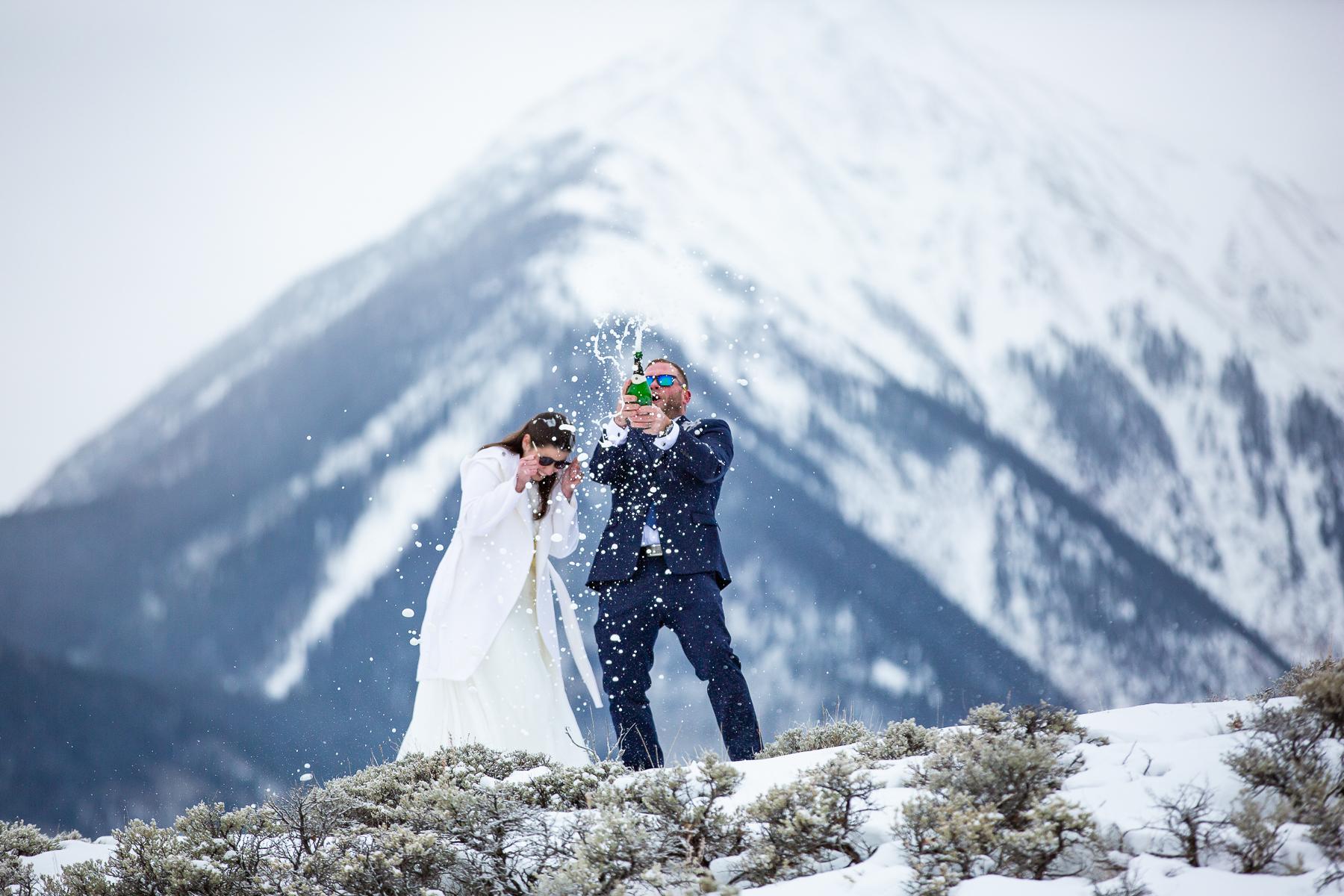 Twin Lakes Colorado Wedding Photos | some champagne to celebrate their marriage