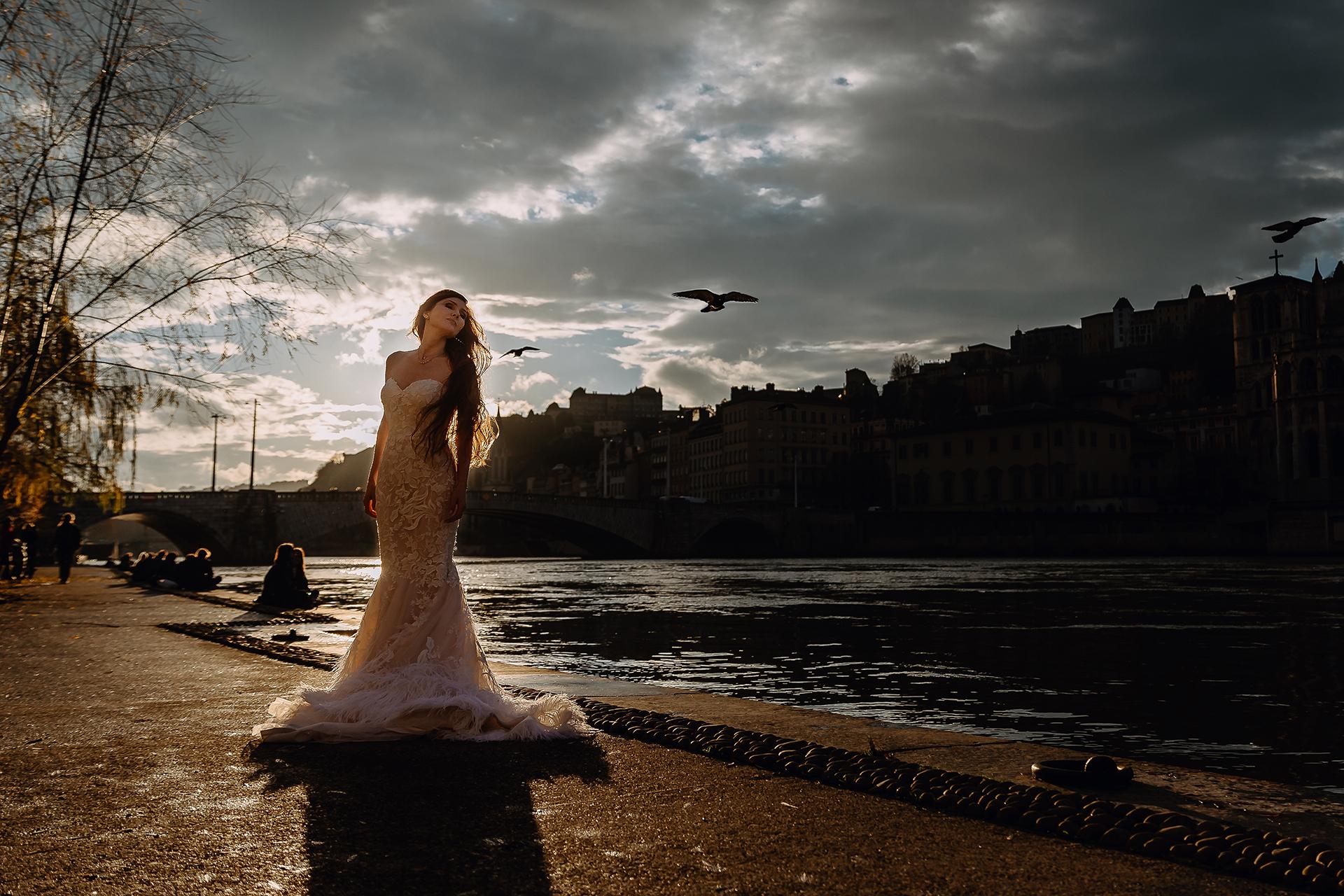 Quai de Saône Bridal Portrait on Wedding Day | The light is beautiful for December