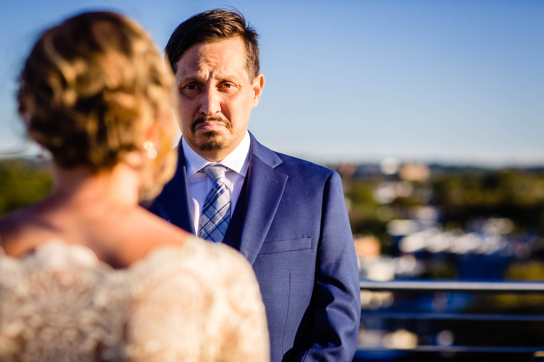 Capitol Hill Wedding Photos - DC Elopements | The groom is overcome with emotion as his bride reads her vows