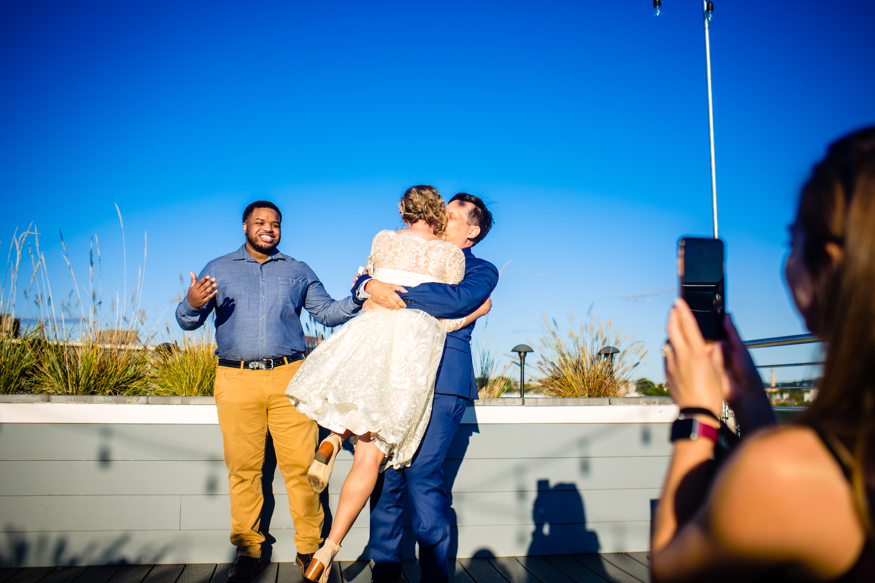 DC Wedding Photography - Washington Elopements | The bride and groom seal their new marriage with a kiss