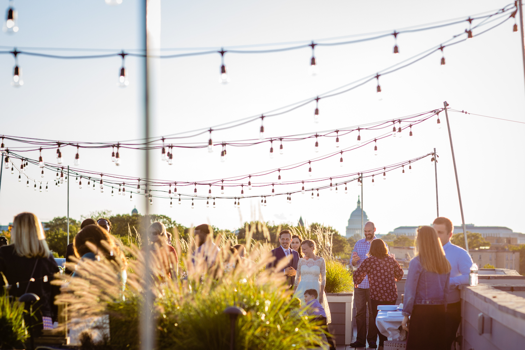 Capitol Hill DC Wedding Photography | lights are strung up on the rooftop and the U.S. Capitol in the distance