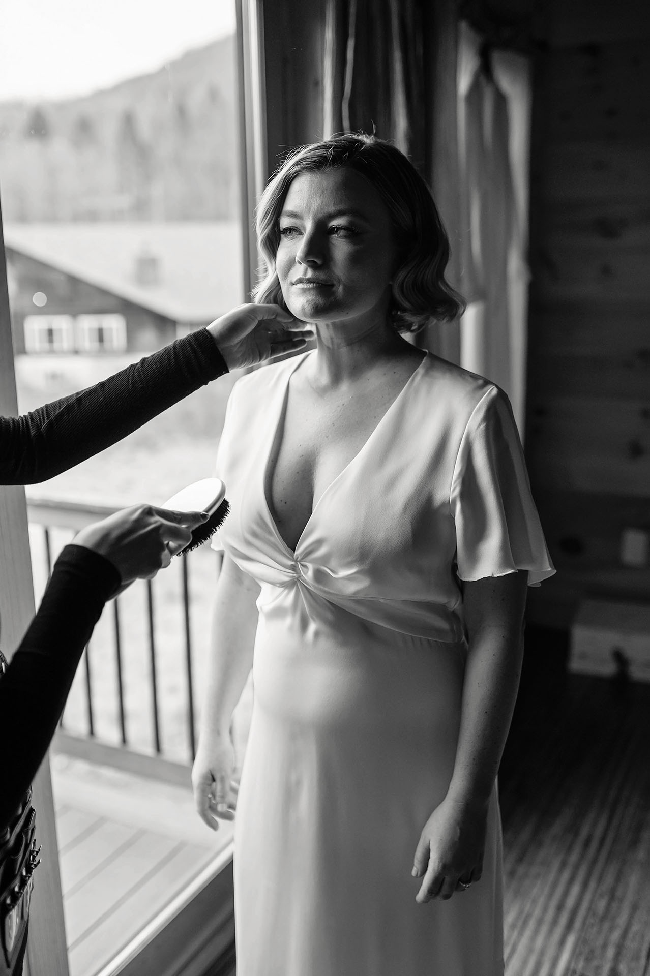 Catskills Wedding Photographers, New York | finishing touches from her makeup artist