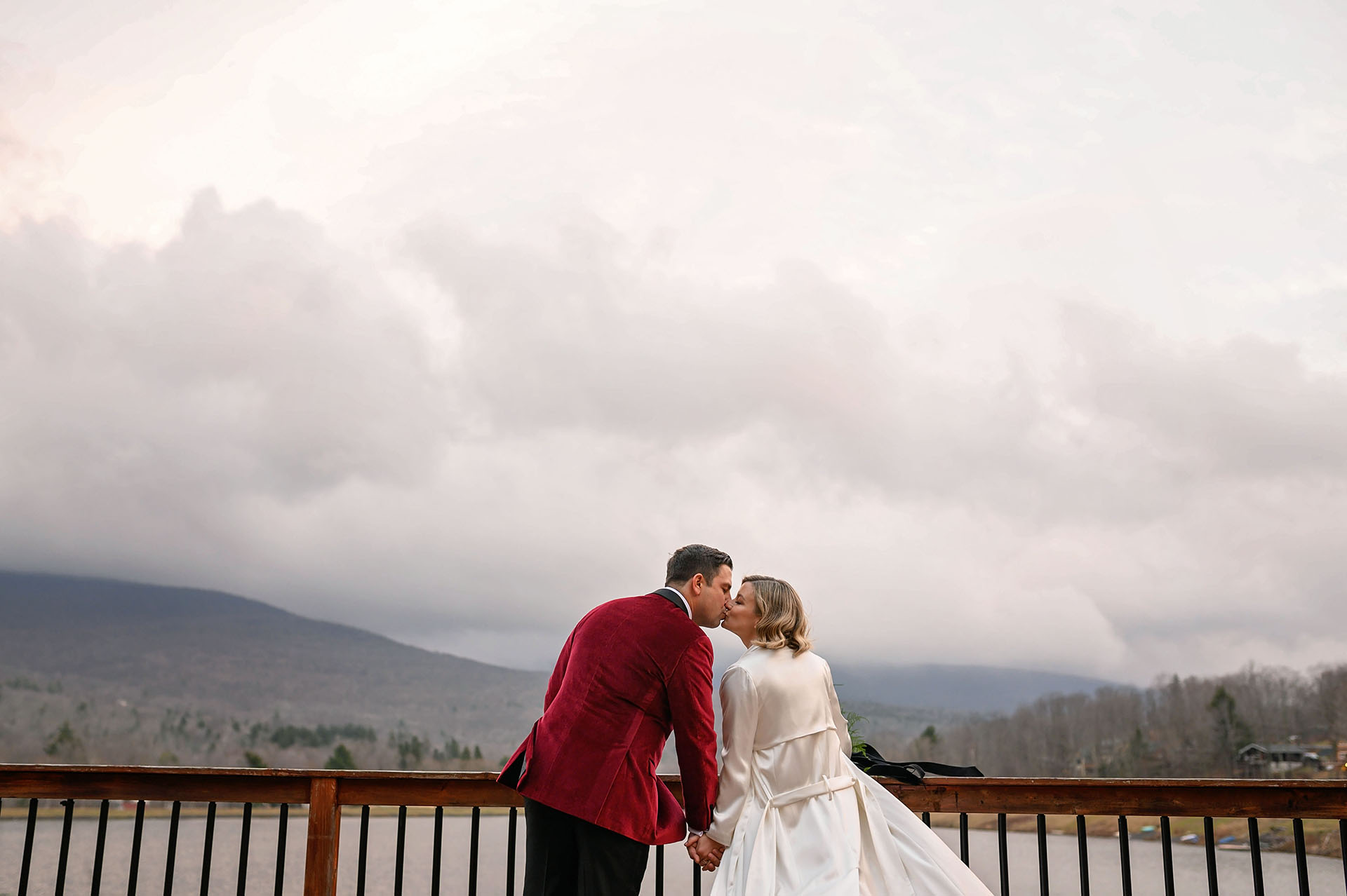 Catskills, NY Wedding Couple Portraits | The back patio overlooked the water