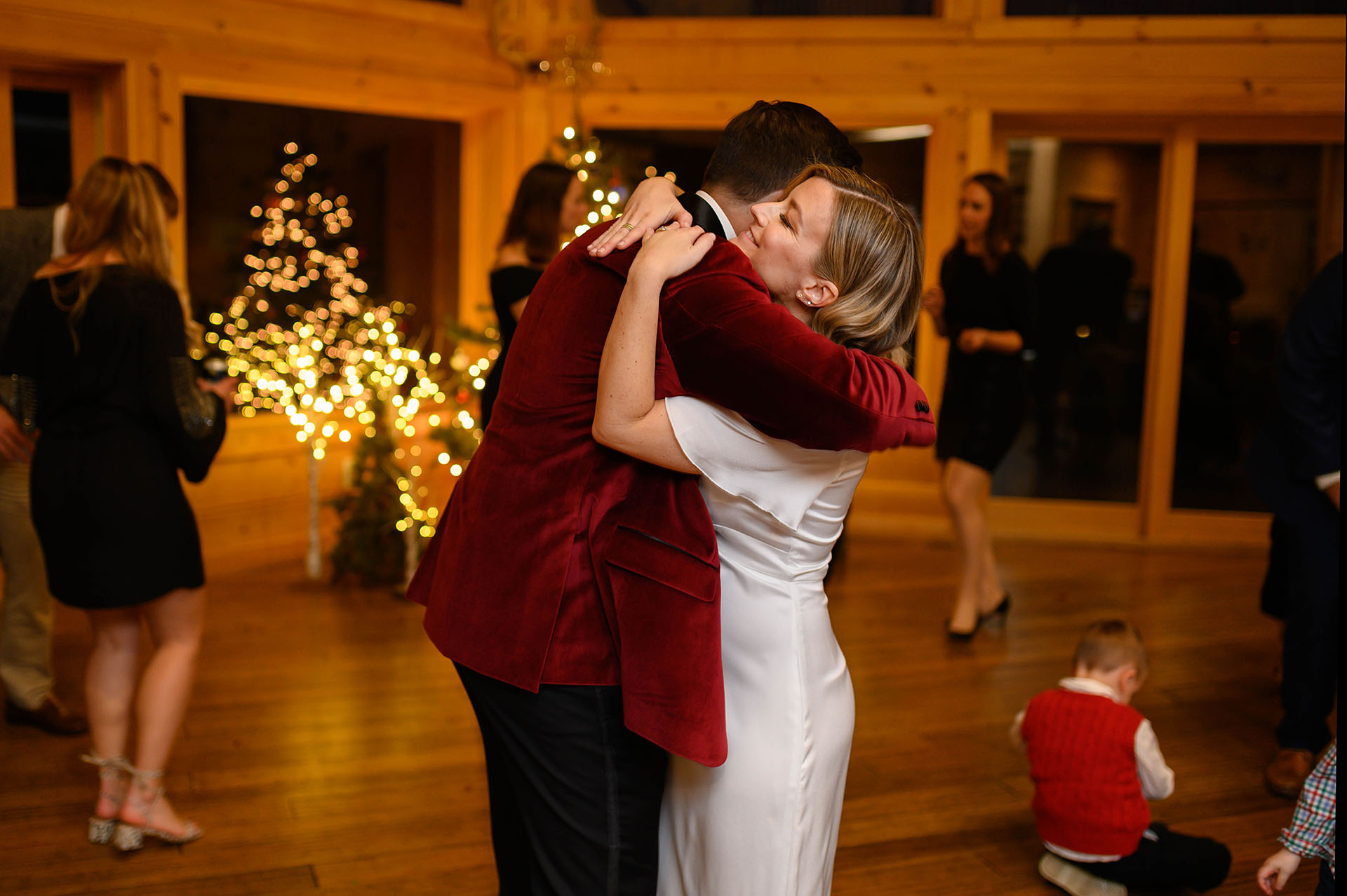 NY Airbnb of Catskill - Wedding Reception Photo | The bride and groom share a hug