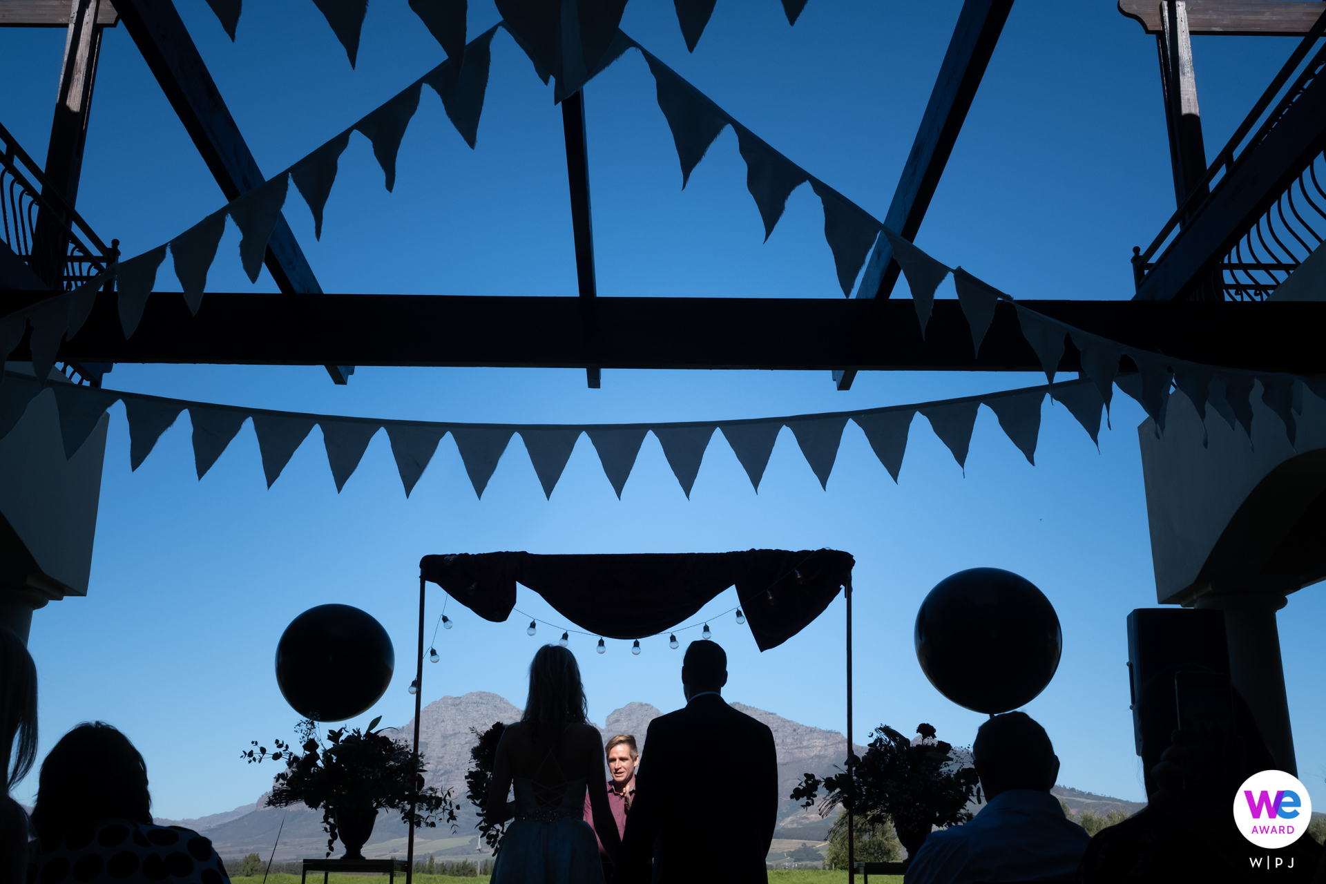 Franschhoek, Cape Winelands, South Africa Outdoor Ceremony Wedding Photo with majestic mountains making for a beautiful backdrop
