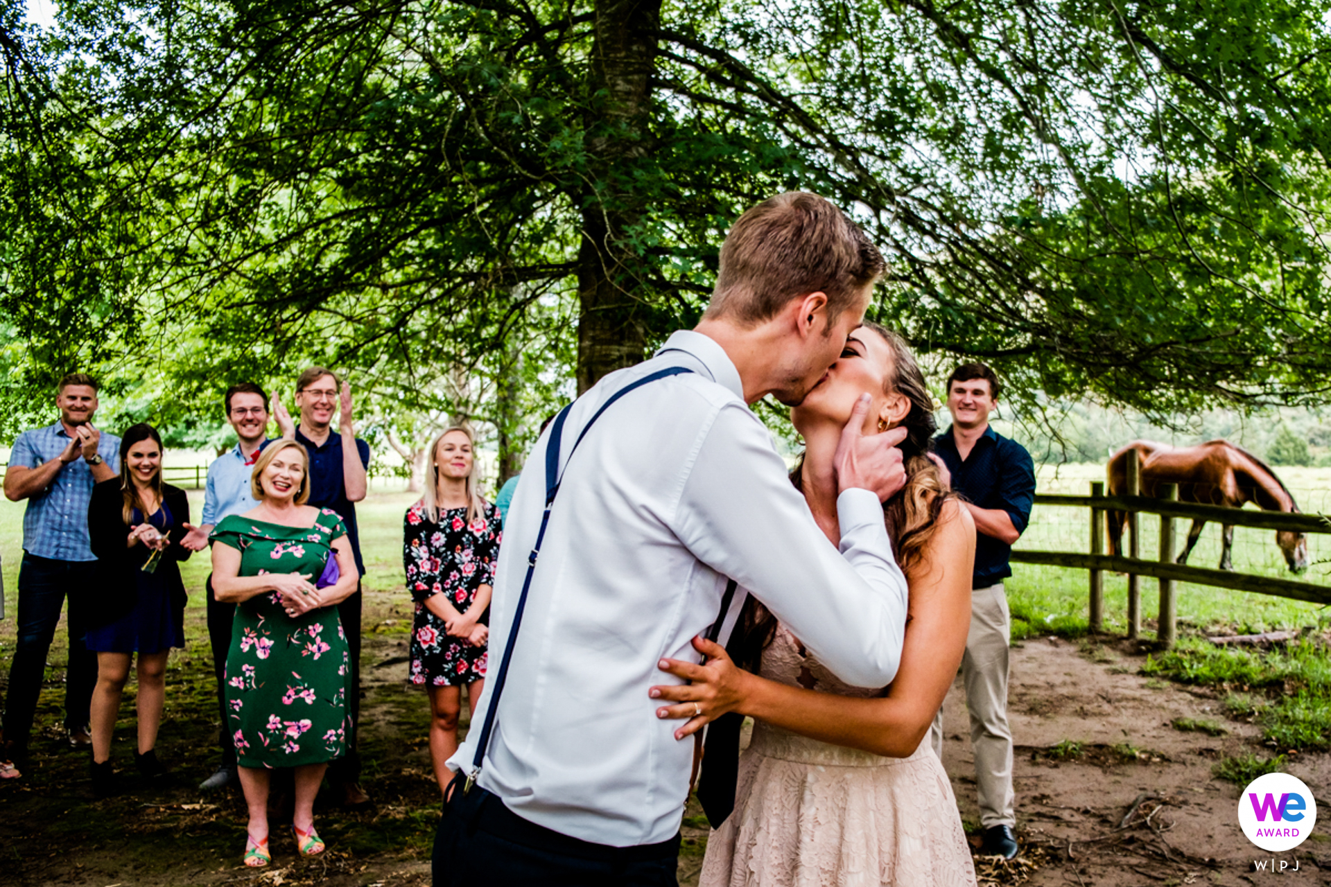 Outside Garden Elopement Photography of the bride and groom kiss - Wedding image by Christelle Rall