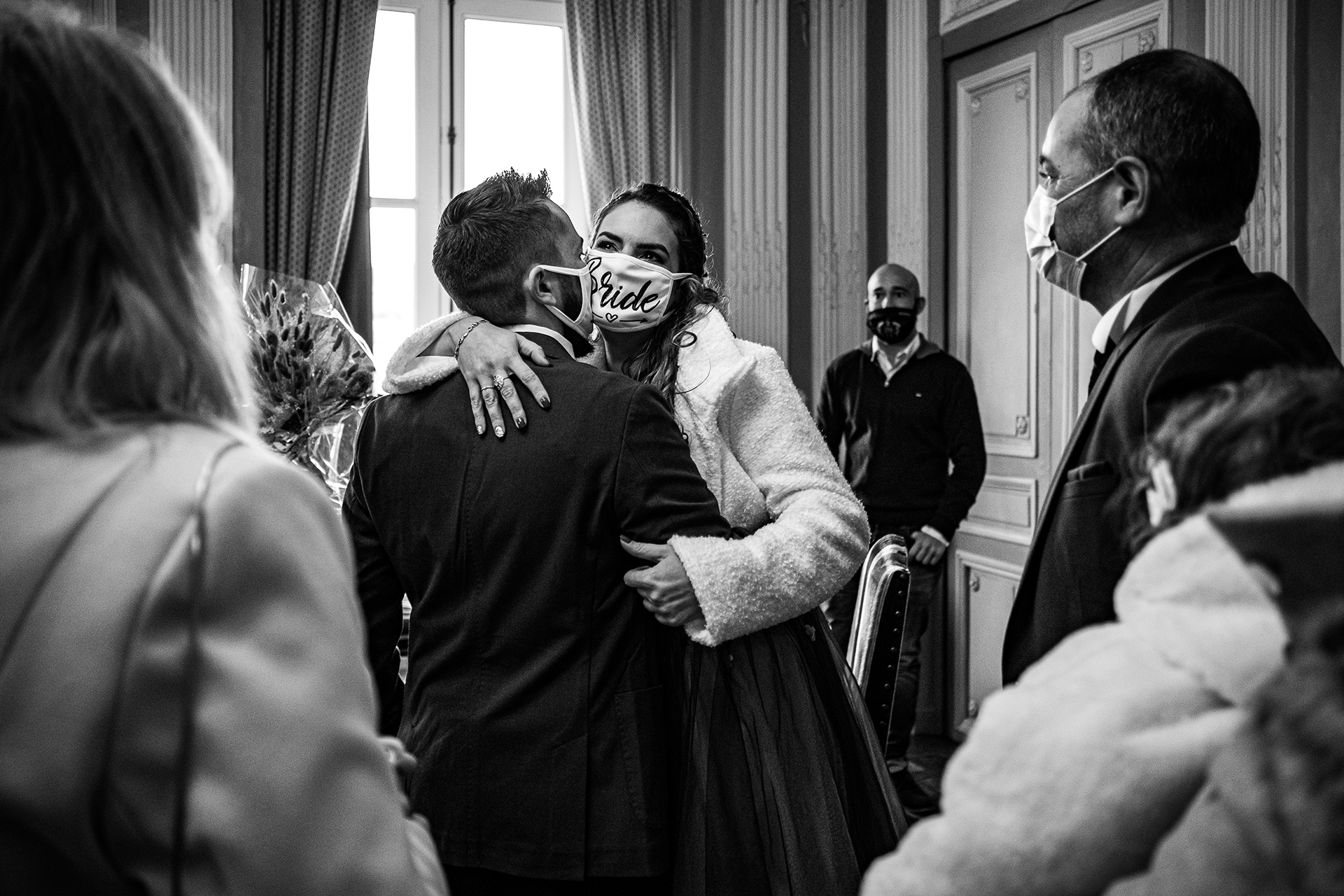 Pont-Château Town Hall Wedding Photography | Wearing a custom bridal face mask