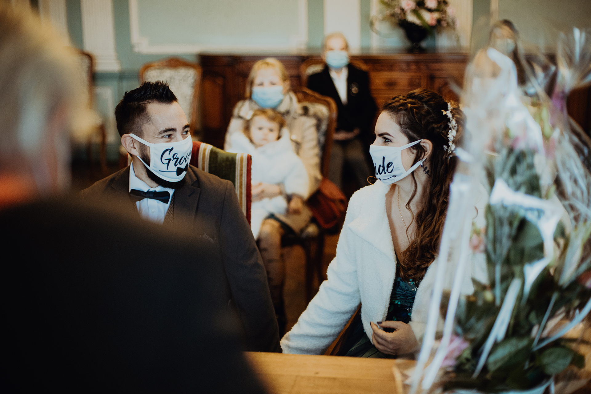 Town Hall of Pont-Château Wedding Ceremony Image | The face masks that they wore in order to stop the spread of the virus may have hid their smiles