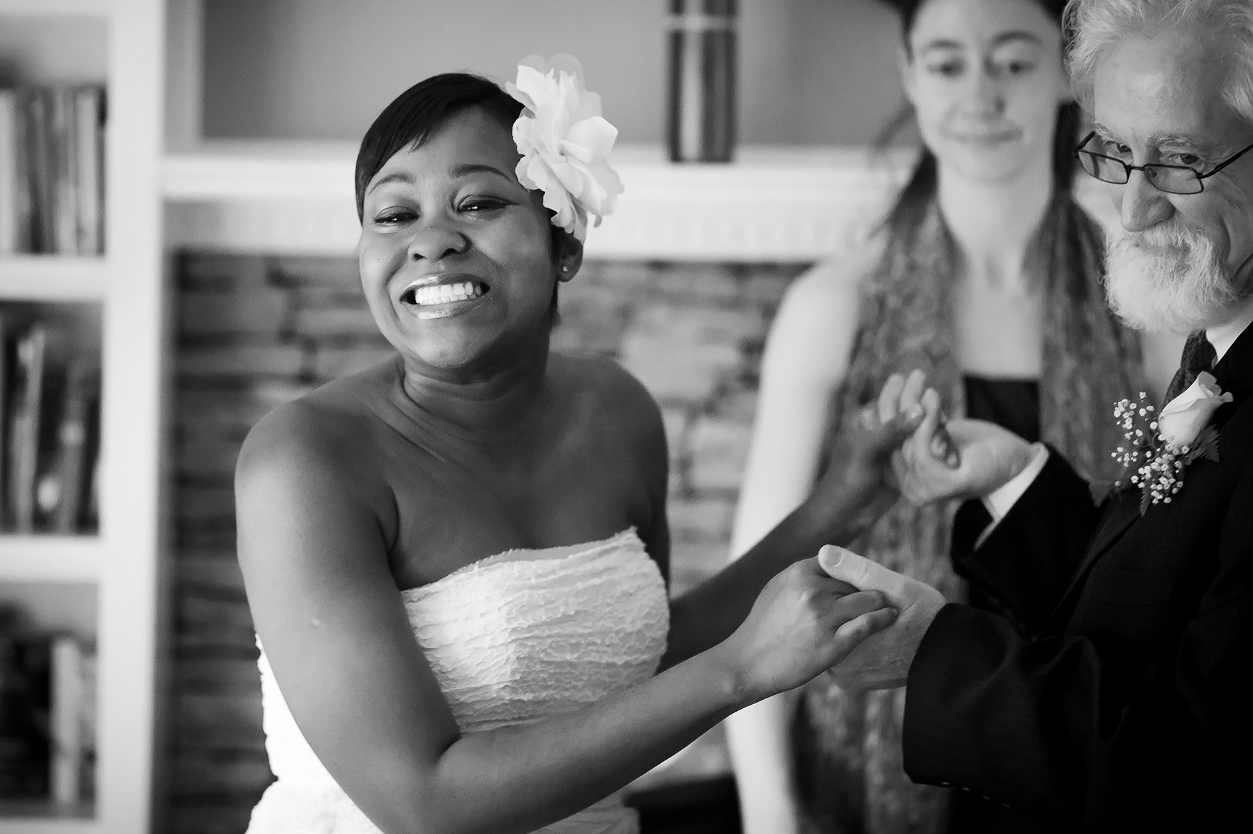 Georgia Wedding Photography for Sandy Springs | The bride flashes a beaming smile at her guests during the ceremony