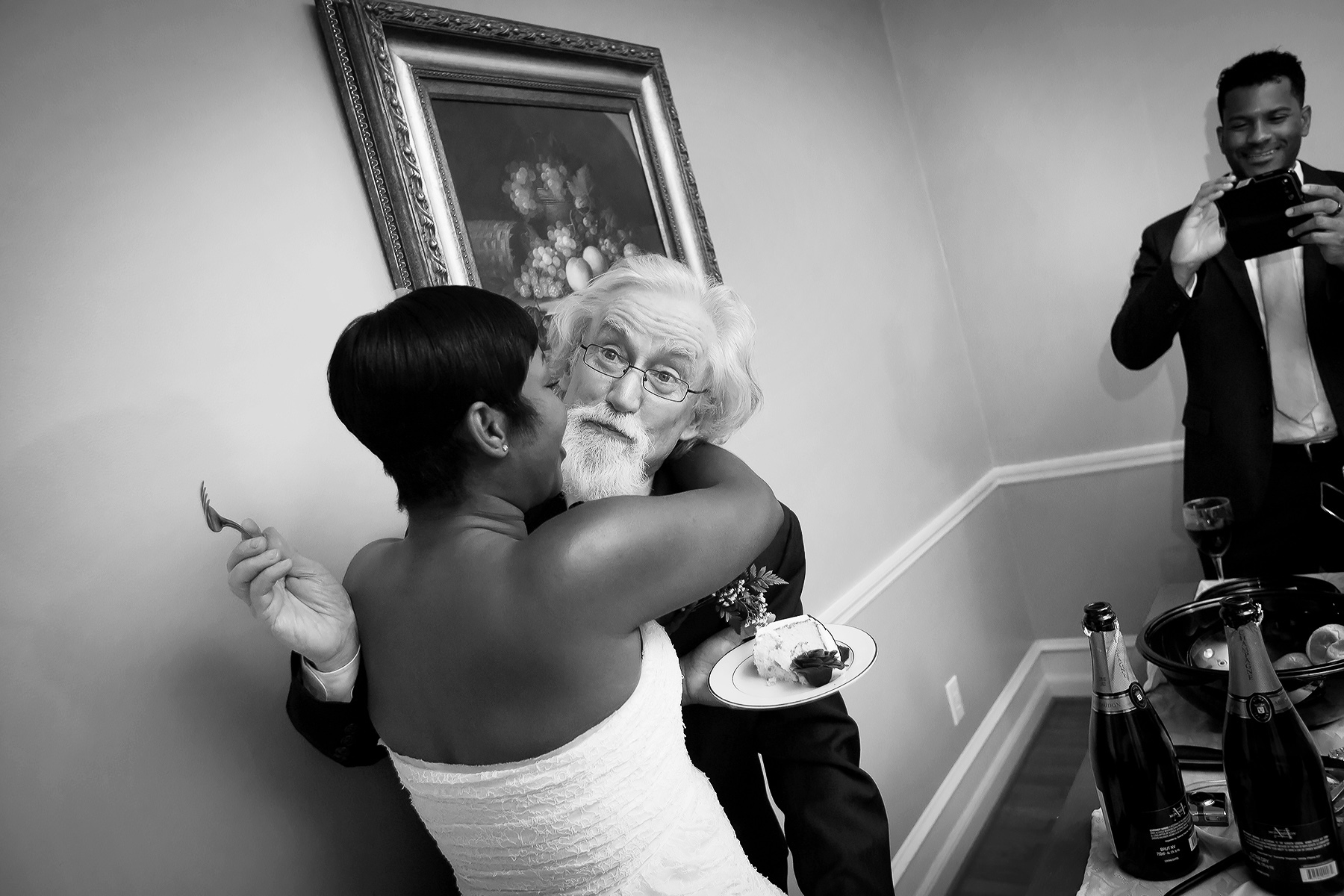 At Home Wedding Image - Sandy Springs, GA | The groom waits patiently for a kiss from his bride
