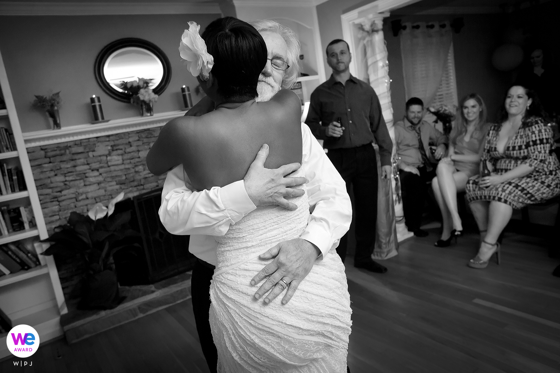 Sandy Springs, Georgia Wedding Photography created as The bride and groom dance together at the reception inside their home