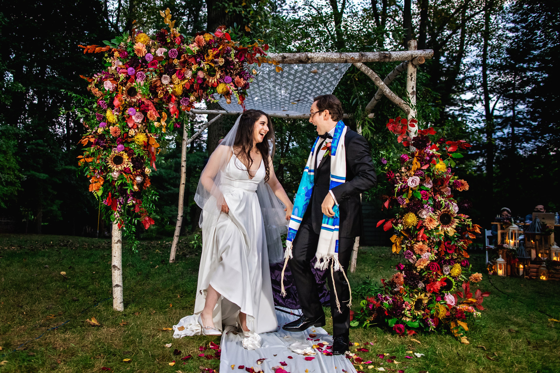 Backyard, Montclair, New Jersey Wedding Pics | The couple celebrates