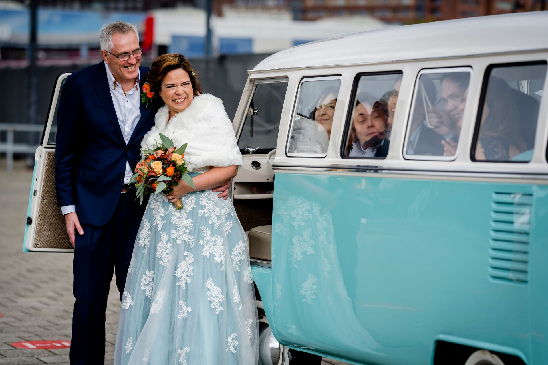 Best Wedding Photography for Rotterdam, NL | The bride and groom smile as they arrive for their ceremony in a vintage VW van