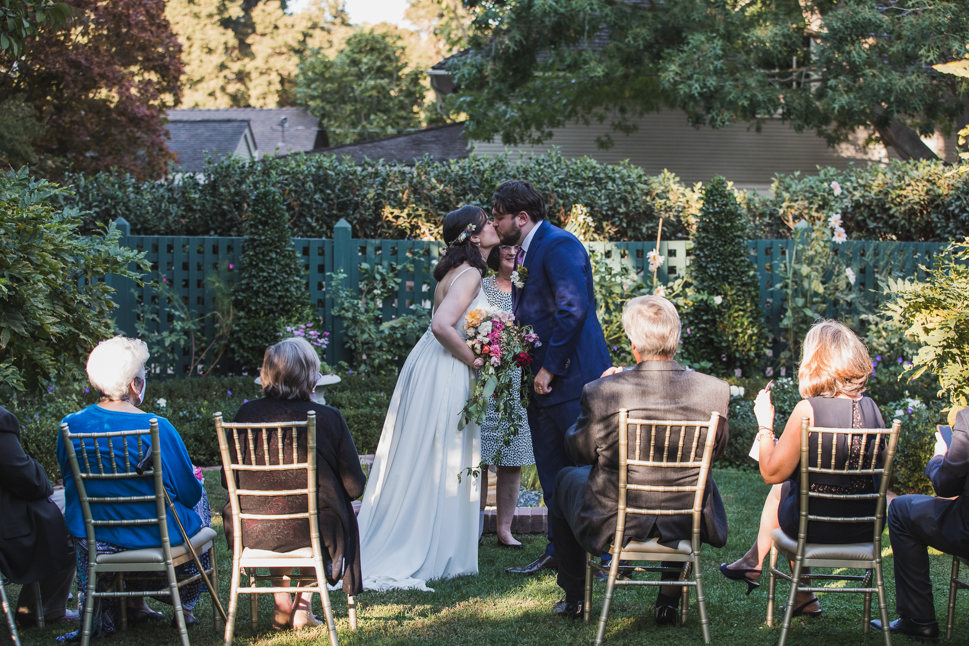 Elizabeth F. Gamble Garden Wedding Venue Image | The kiss at the end of the outdoor ceremony